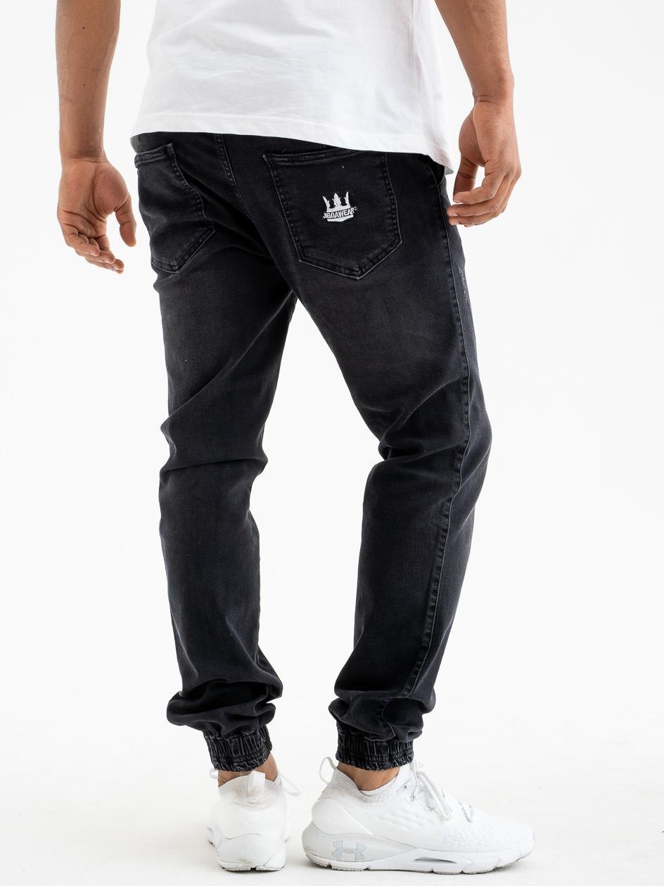 Spodnie Jeansowe Jogger Z Przetarciami Jigga Crown Stitch Jet Czarne