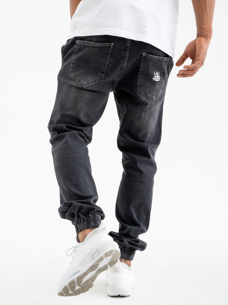 Spodnie Jeansowe Jogger Z Przetarciami Jigga Crown Stitch Sprane Czarne