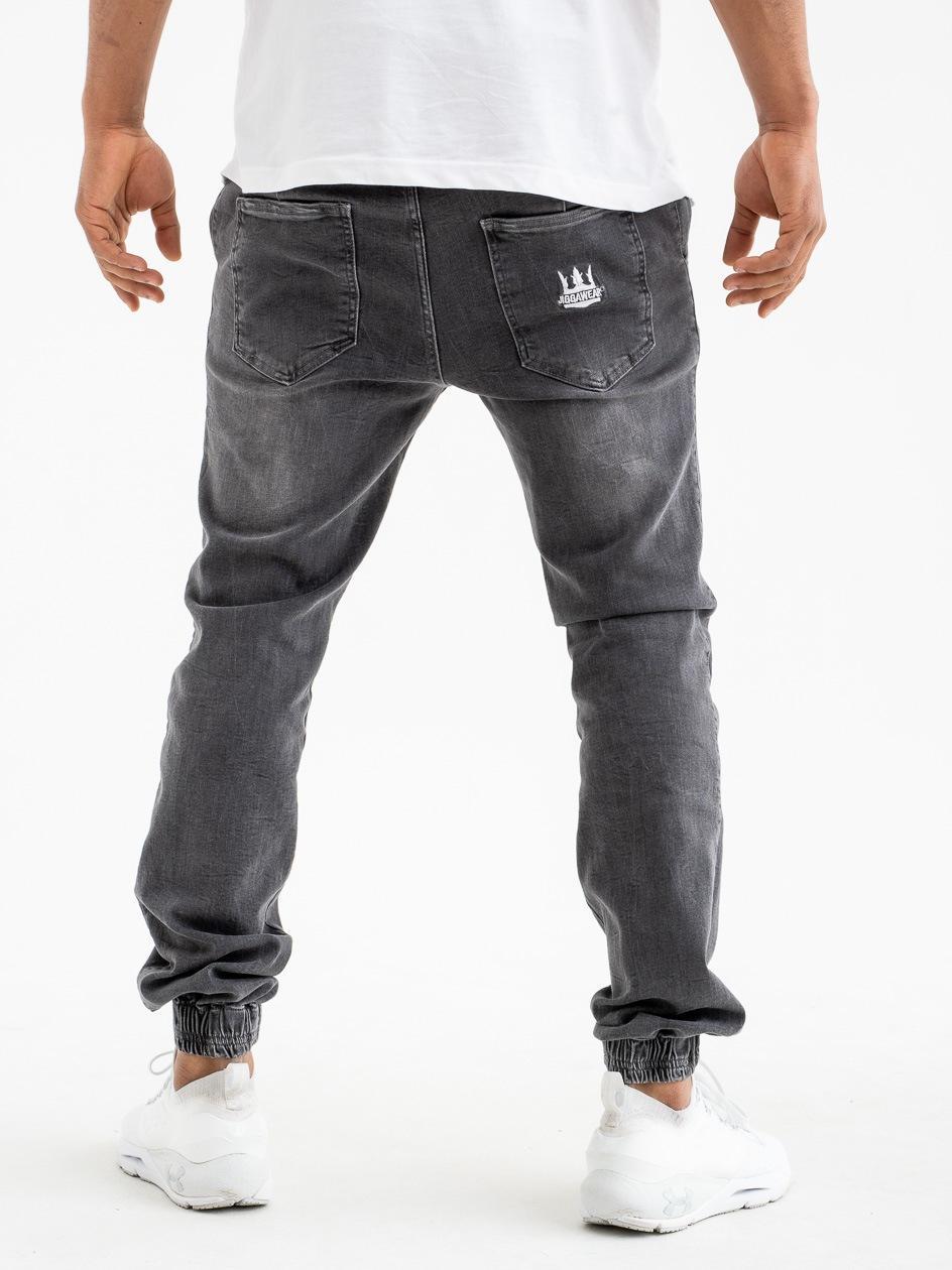 Spodnie Jeansowe Jogger Z Przetarciami Jigga Crown Stitch Sprane Grafitowe
