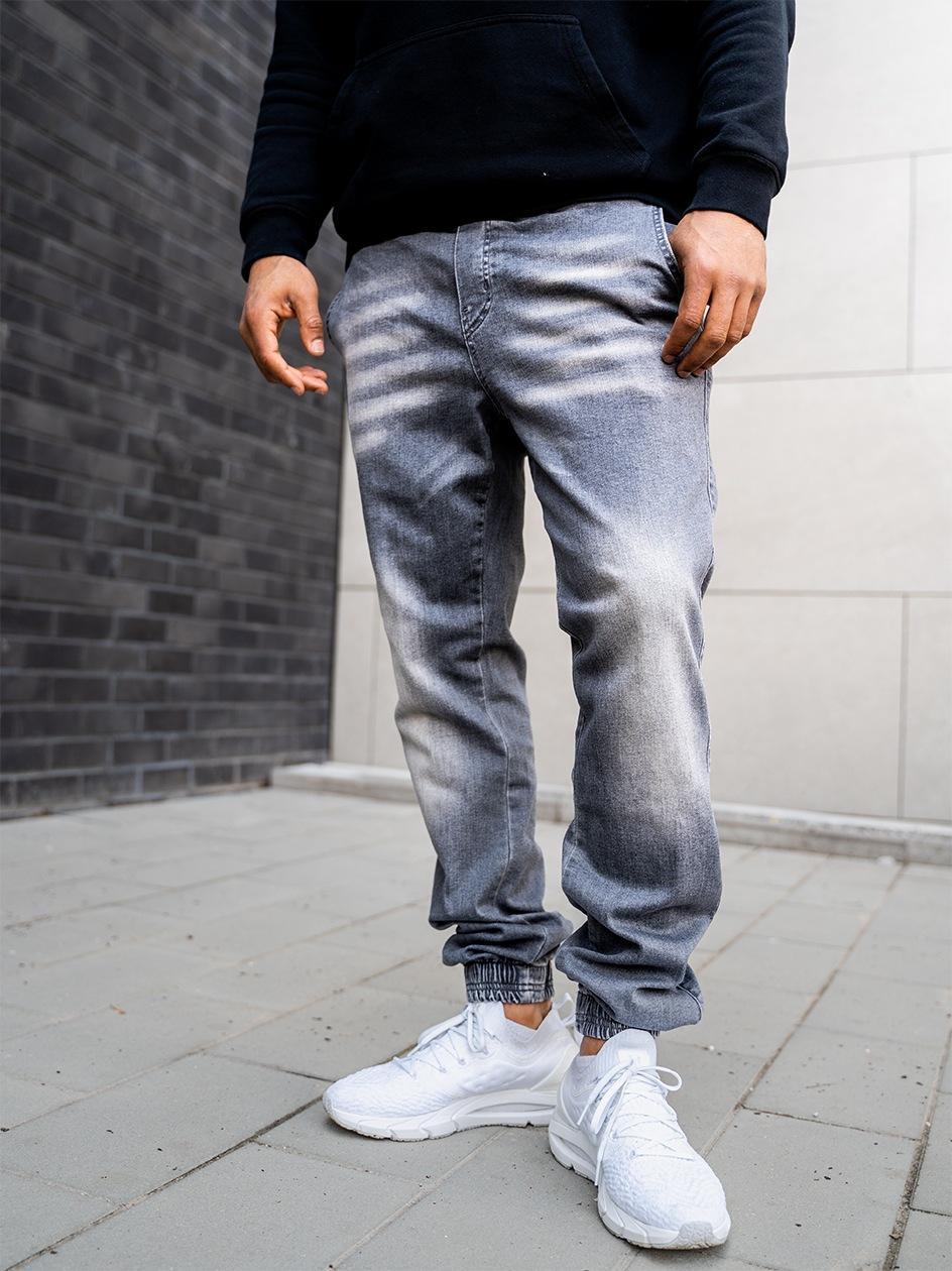 Spodnie Jeansowe Jogger Z Przetarciami Jigga Crown Stitch Ciemne Szare
