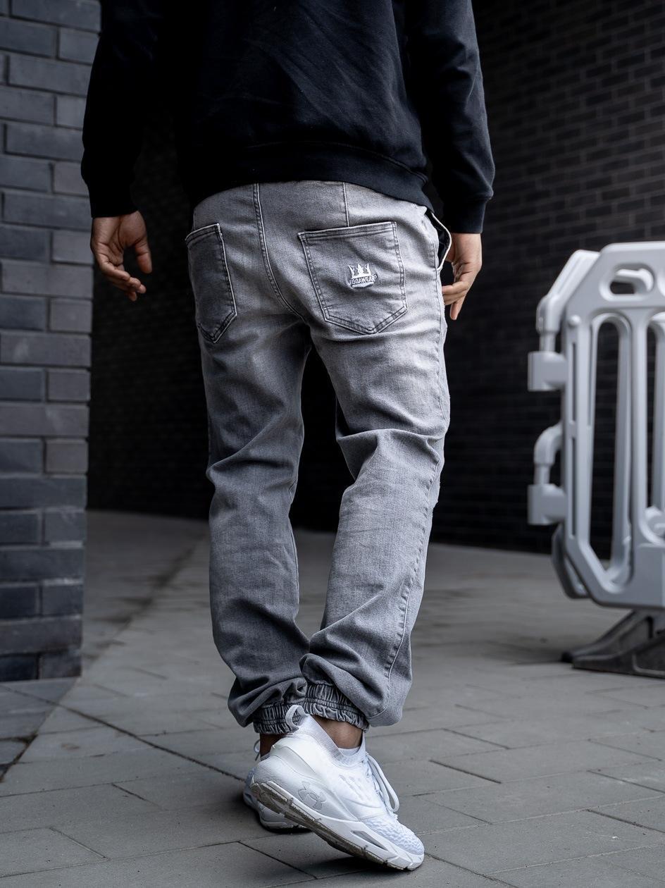 Spodnie Jeansowe Jogger Z Przetarciami Jigga Crown Stitch Sprane Szare