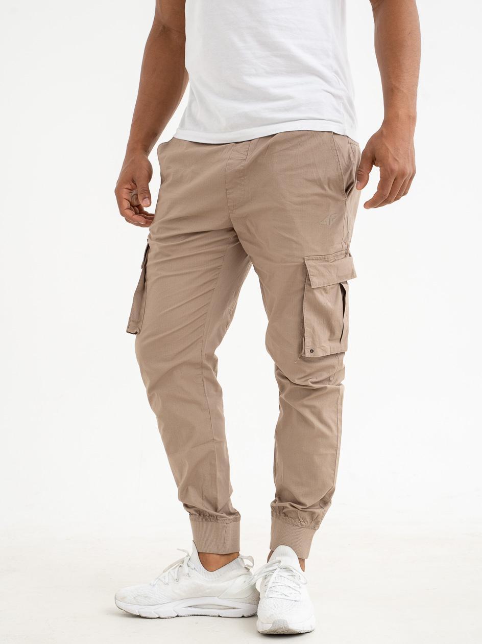 Spodnie Materiałowe Jogger Bojówki 4F Belt Brązowe