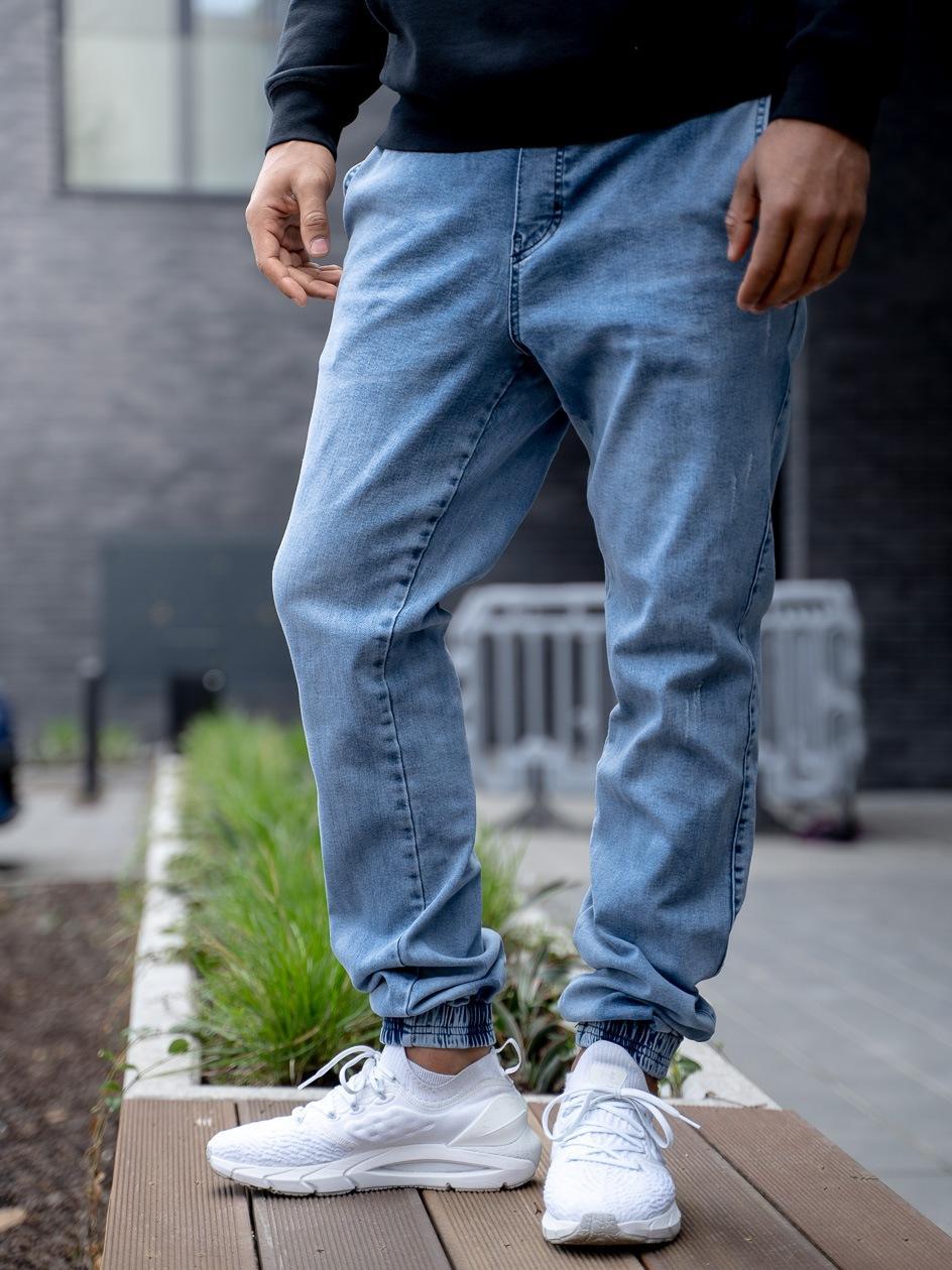 Spodnie Jeansowe Jogger Jigga Crown Stitch Sprane Jasne Niebieskie