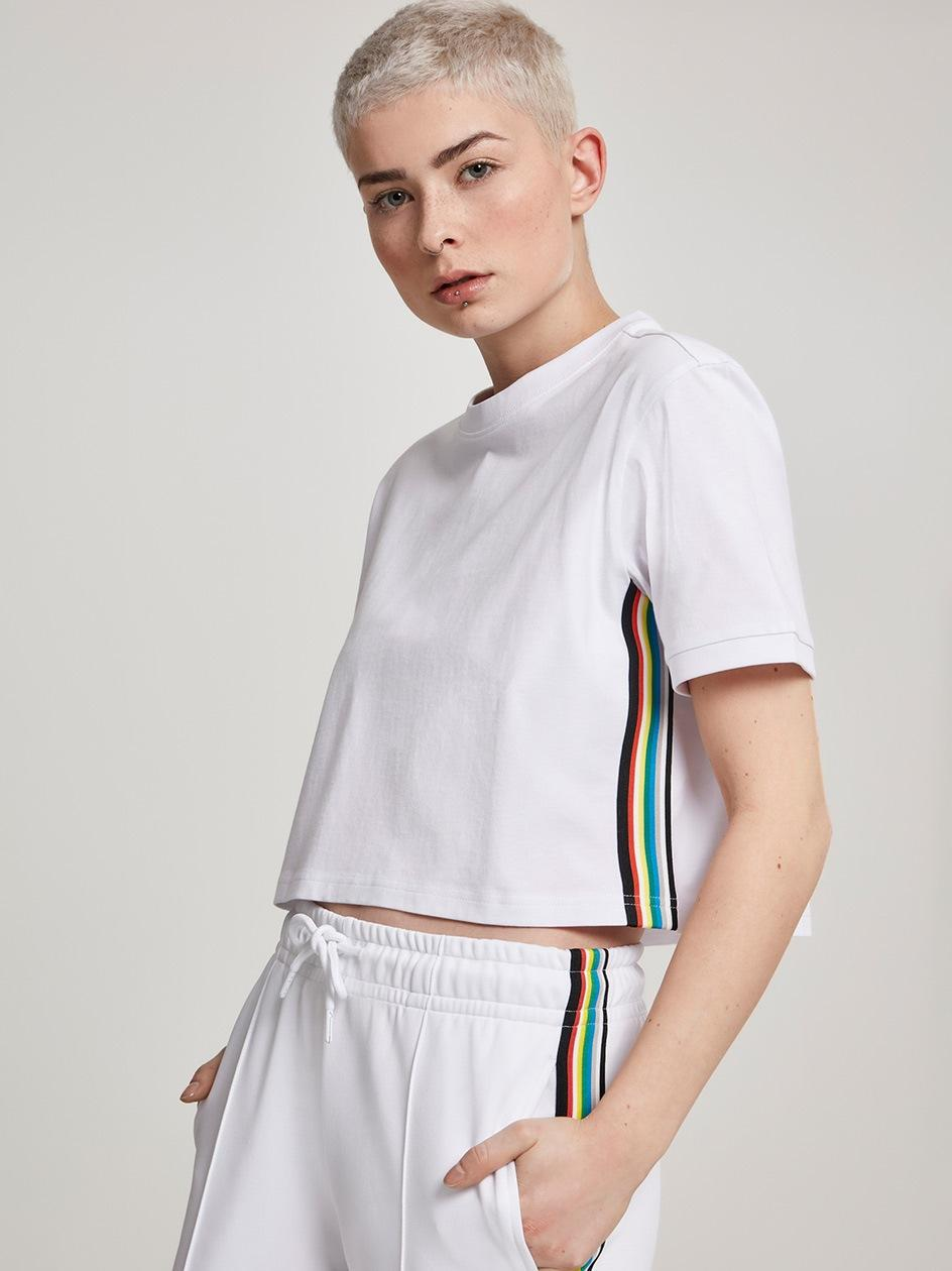 Ladies Multicolor Side Taped Tee White TB2642
