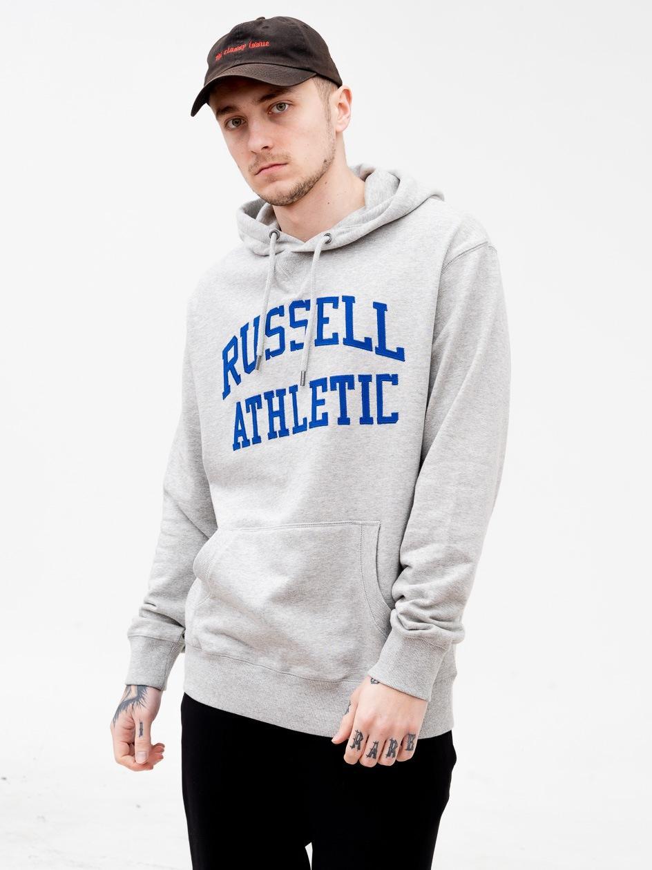 Bluza Z Kapturem Russell Athletic Arch Logo Szara