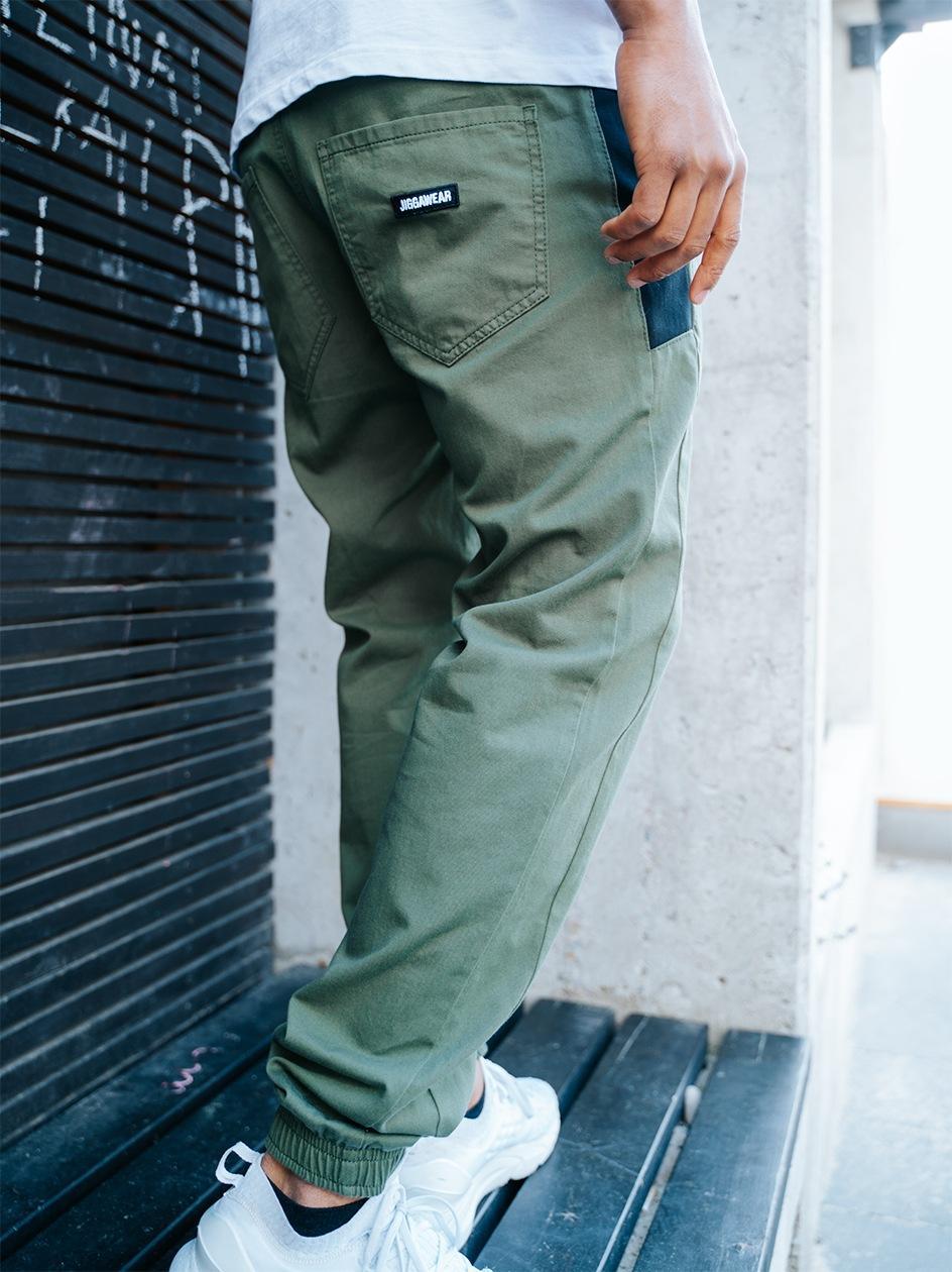 Spodnie Materiałowe Jogger Jigga Nexto Oliwkowe