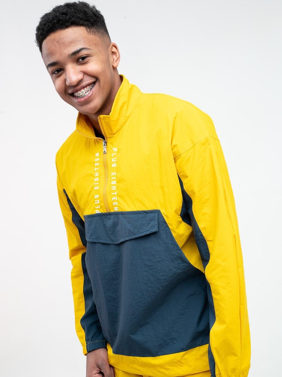 Bluza Rozpinana Do Połowy Z Ortalionu Plus Eighteen Vertical Żółta / Granatowa