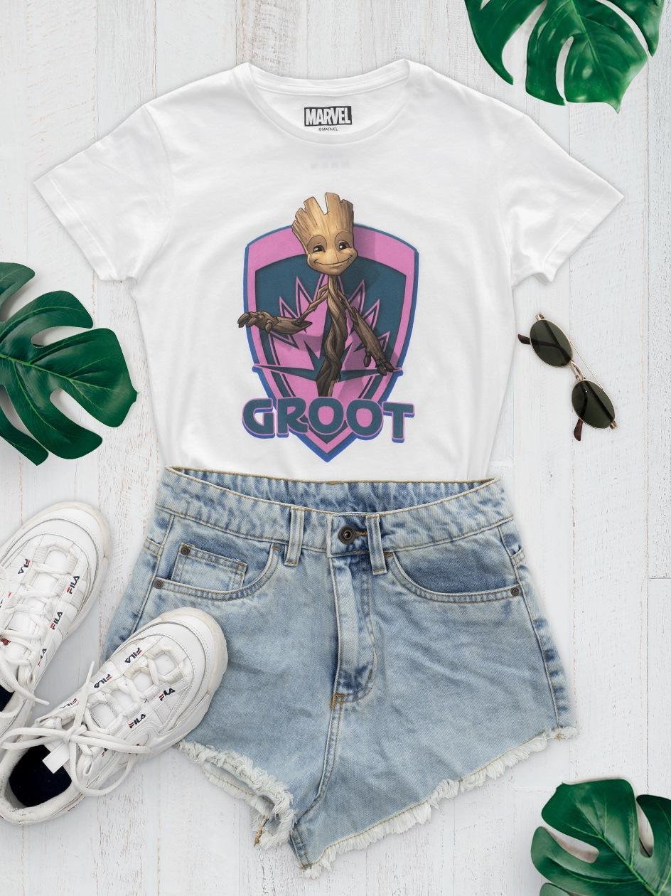 Damska Koszulka Z Krótkim Rękawem Marvel Comics Groot Shield Biała