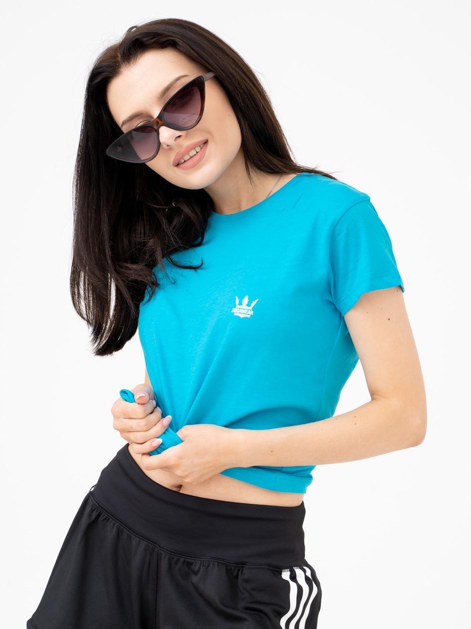 Damska Koszulka Z Krótkim Rękawem Jigga Mini Logo Turkusowa