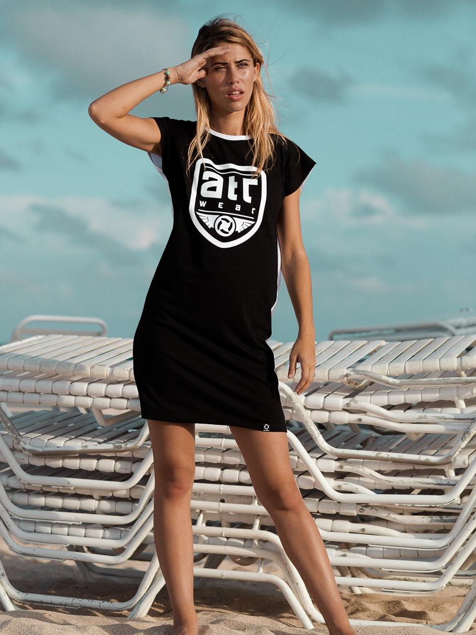 Sukienka ATR Wear Duplex Czarna / Biała