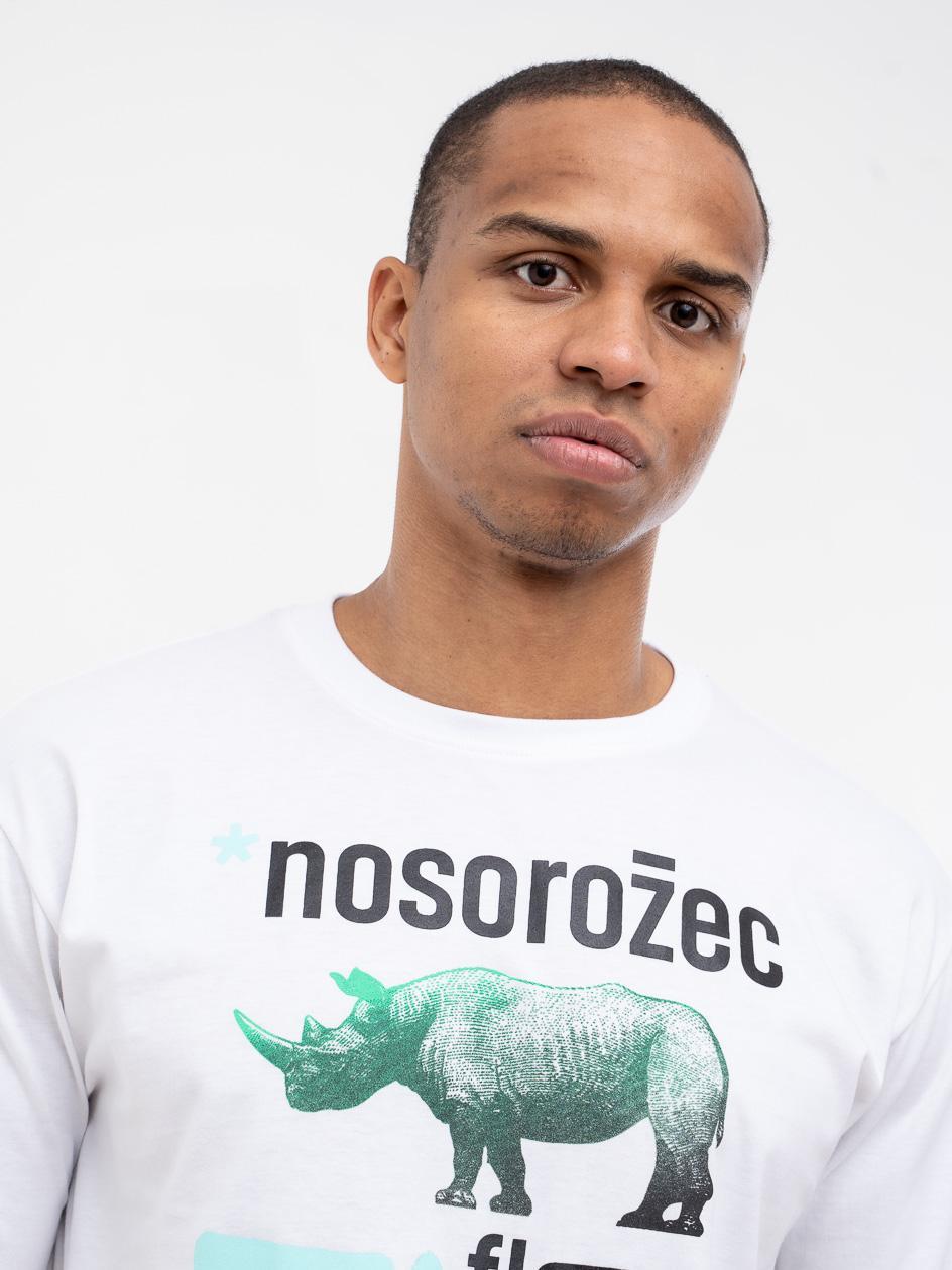 Koszulka Z Krótkim Rękawem El Polako Nosorożec Biała