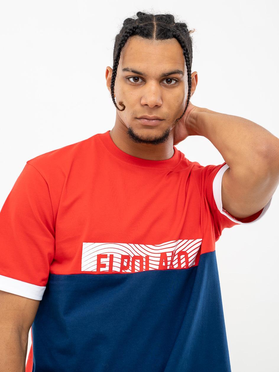 Koszulka Z Krótkim Rękawem El Polako 3 Cut Czerwona / Granatowa