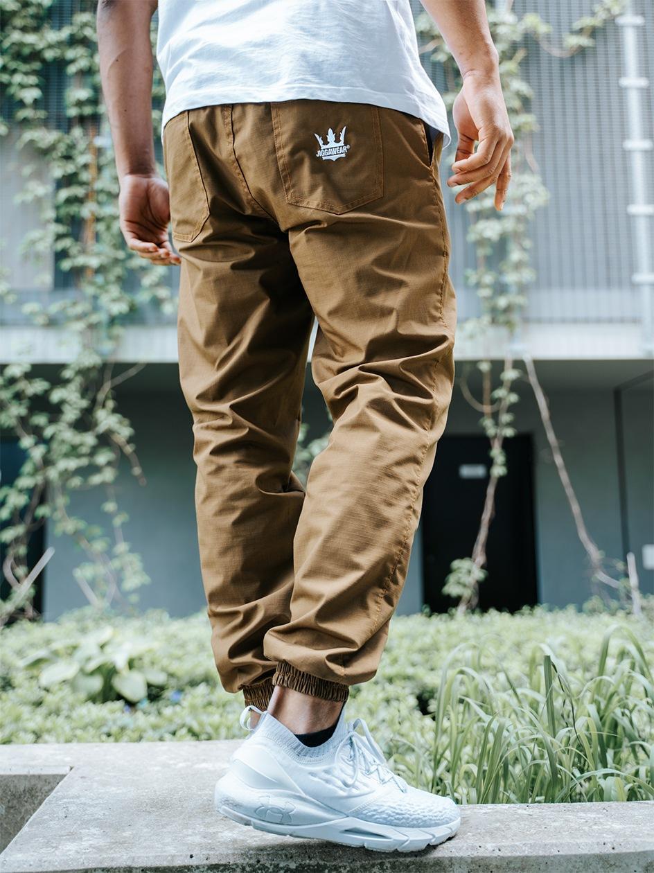 Spodnie Materiałowe Jogger Ze Ściągaczem Jigga Wear Crown Ripstop Brązowe