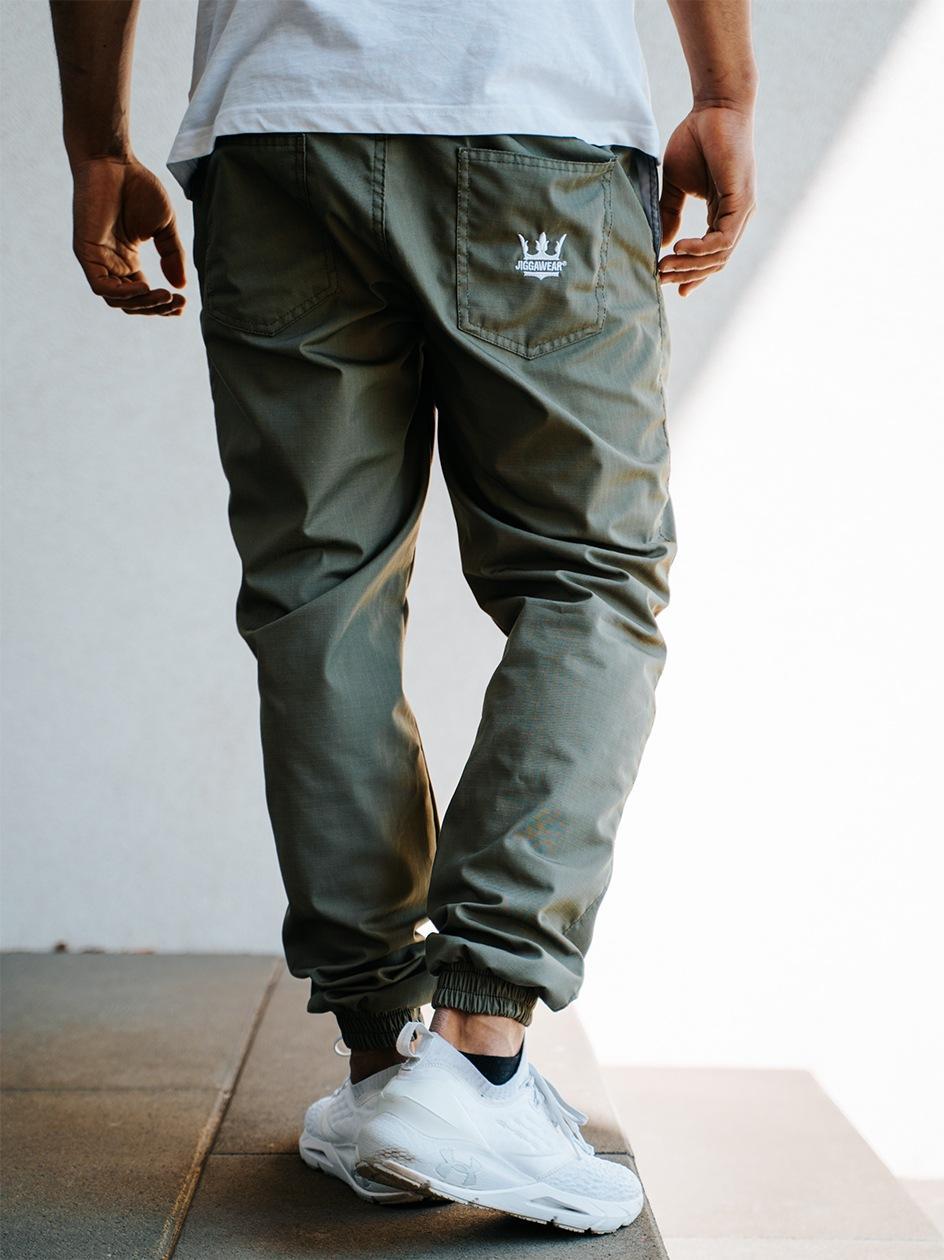 Spodnie Materiałowe Jogger Ze Ściągaczem Jigga Wear Crown Ripstop Oliwkowe
