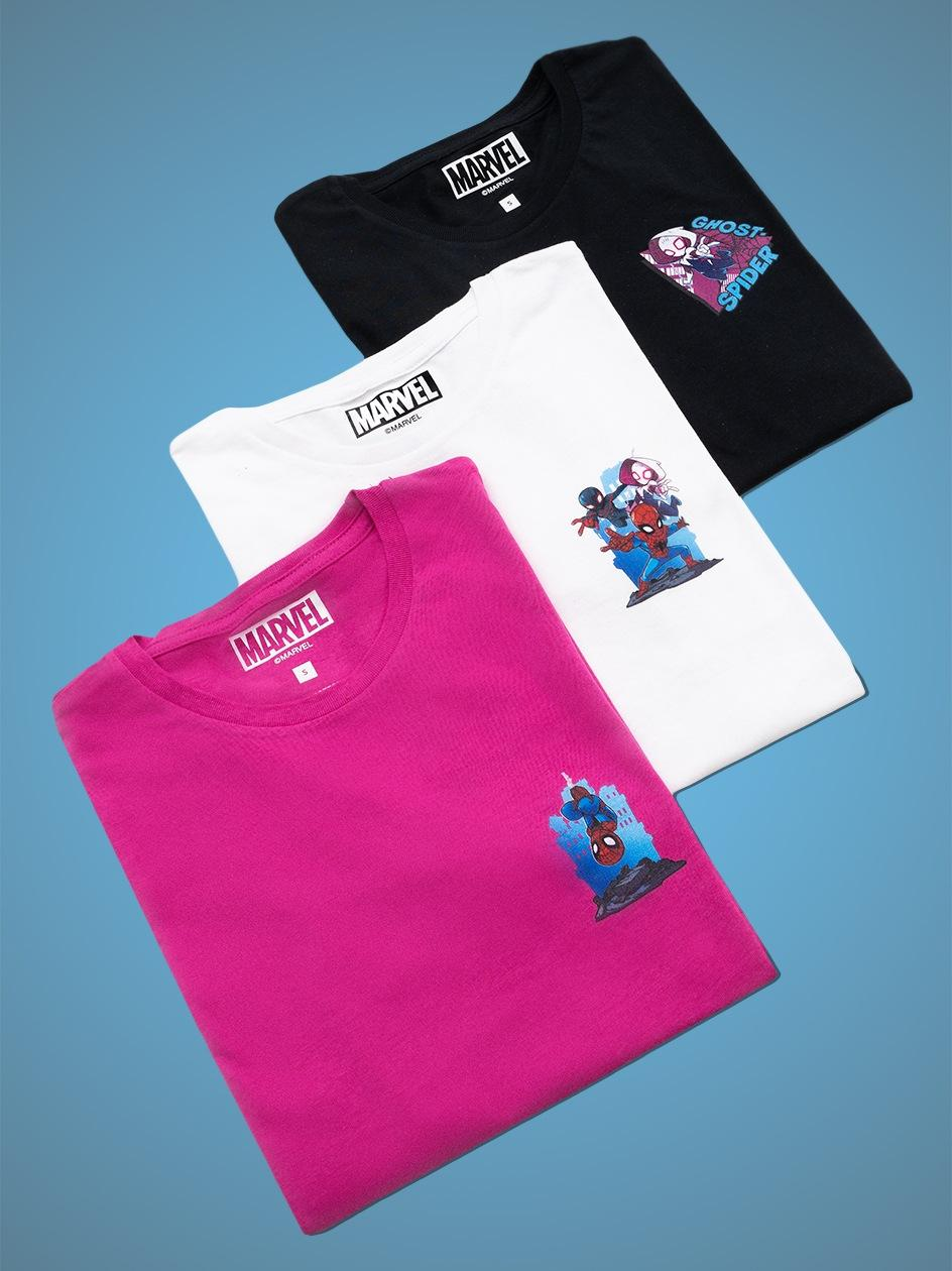 Zestaw 3 Damskich T-Shirtów Marvel Comics Strip Czarny / Biały / Różowy