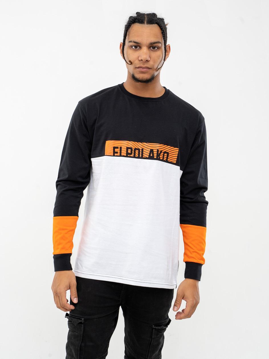Koszulka Z Długim Rękawem El Polako 3 Cut Czarna / Biała