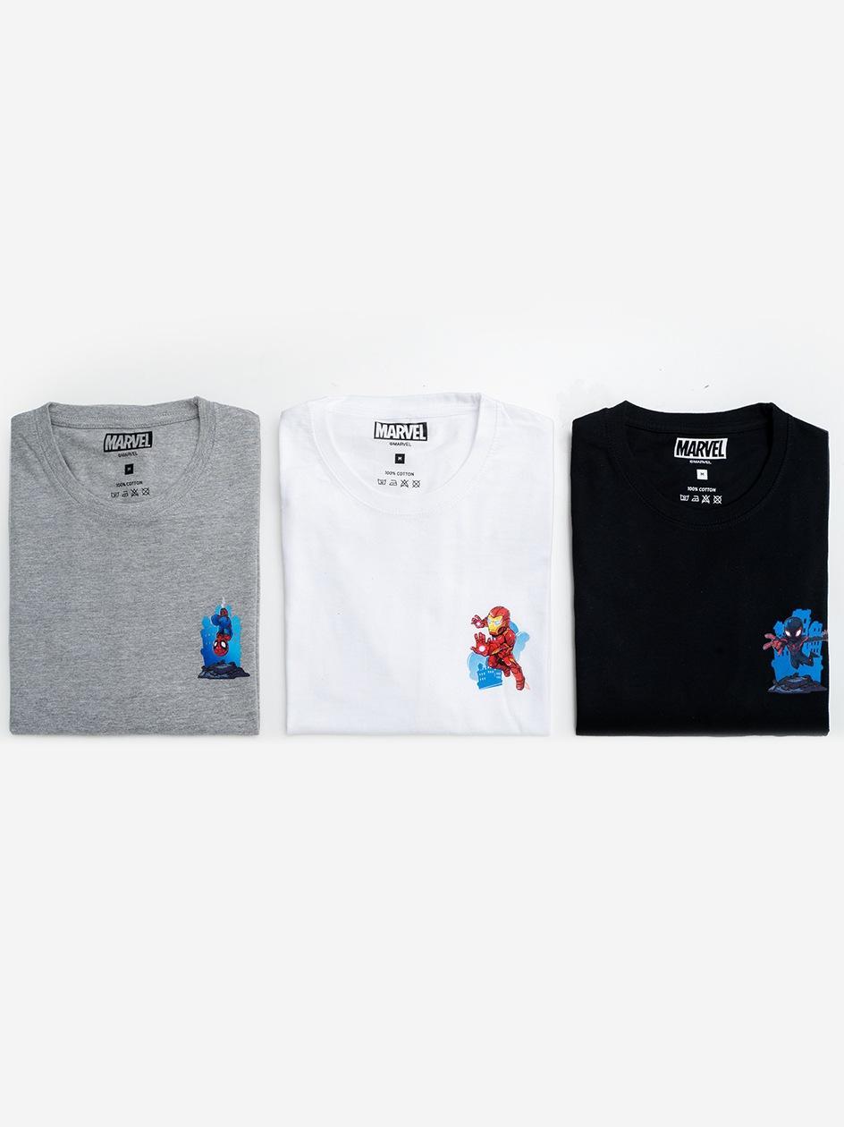 Zestaw 3 T-Shirtów Marvel Comics Strip Czarny / Biały / Szary