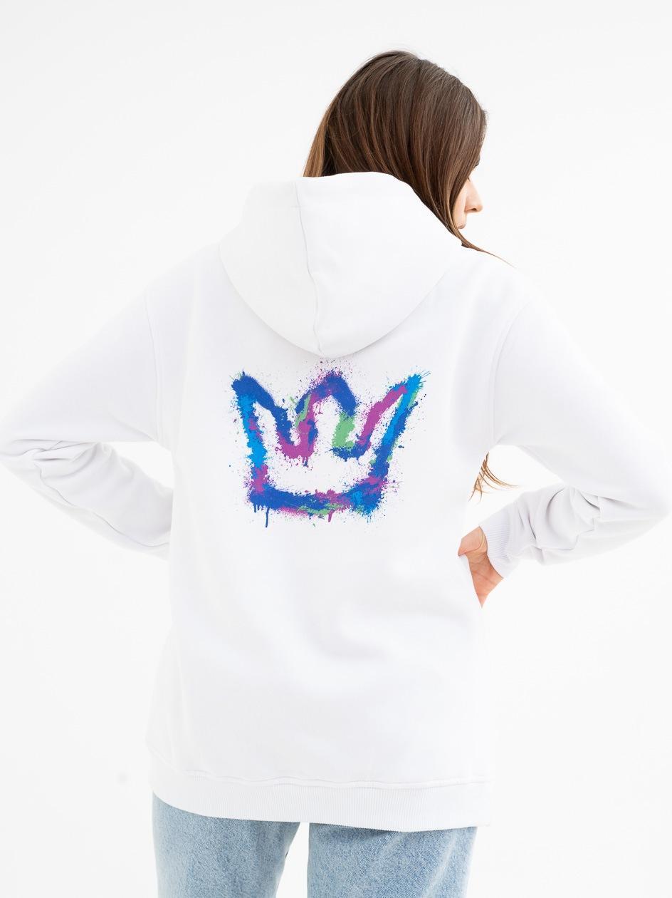 Damska Bluza Z Kapturem Jigga Spray Crown Biała / Wielokolorowa