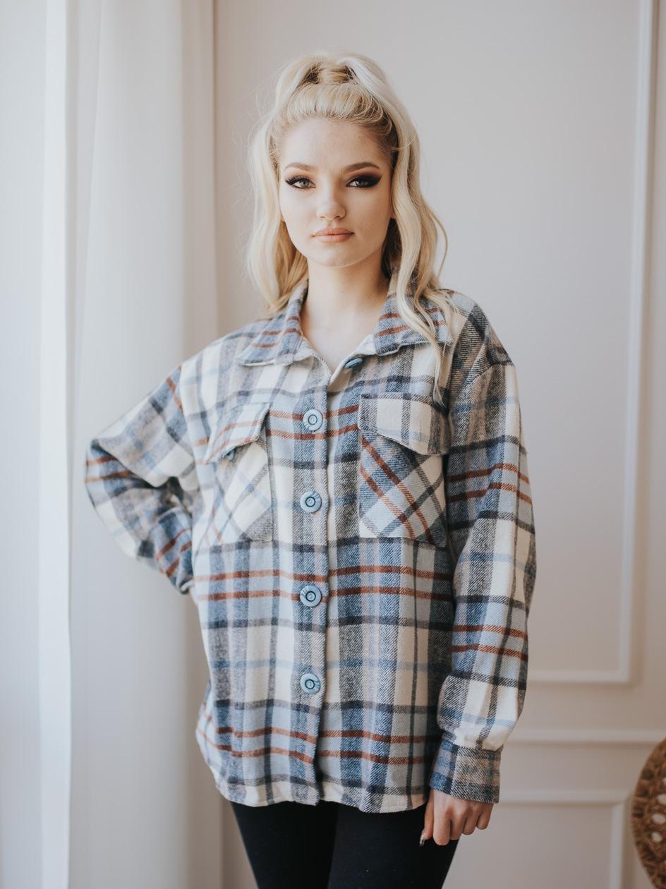 Damska Kurtka POINT X Plaid Niebieska