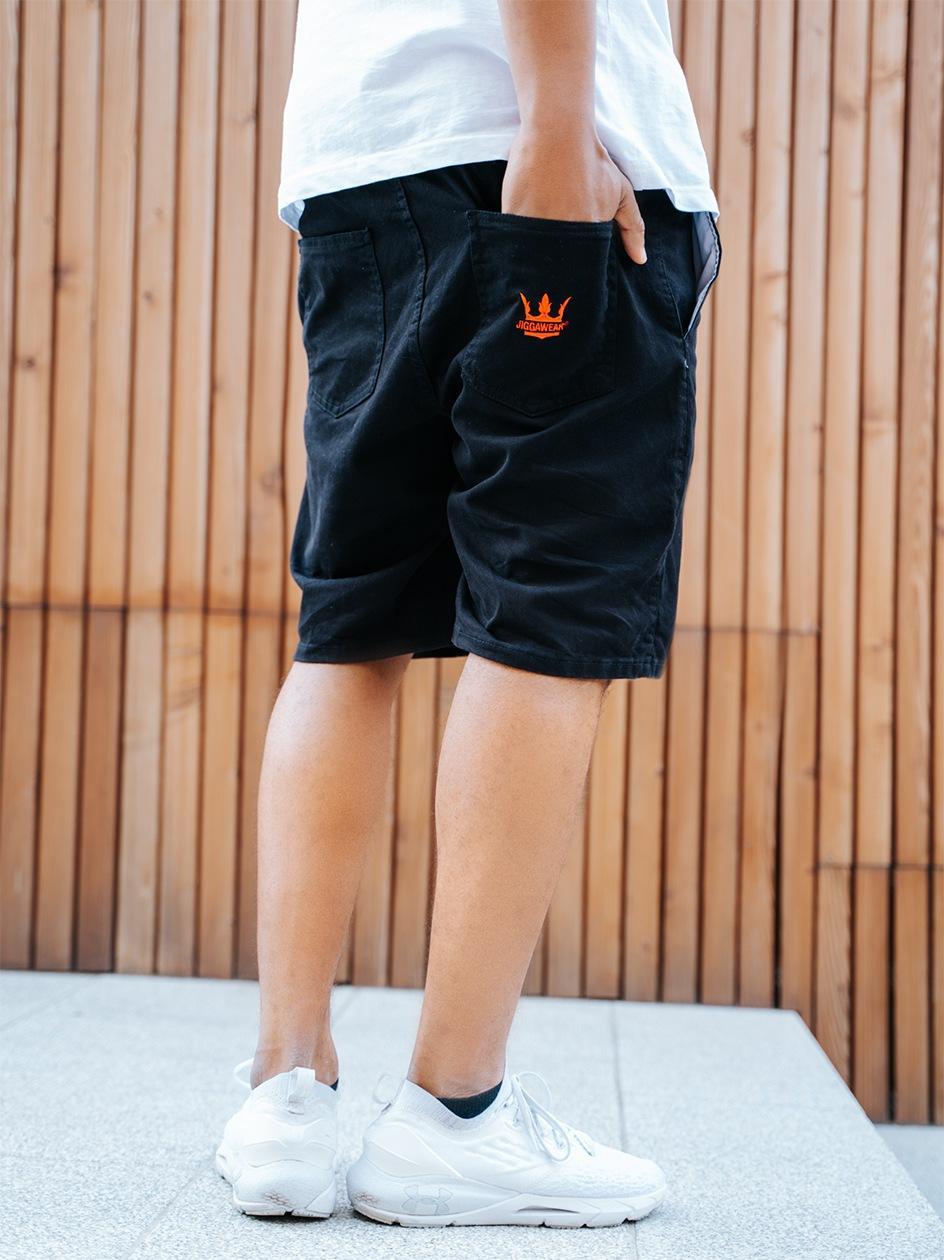 Krótkie Spodenki Ze Ściągaczem Jigga Wear Crown Czarne / Czerwone