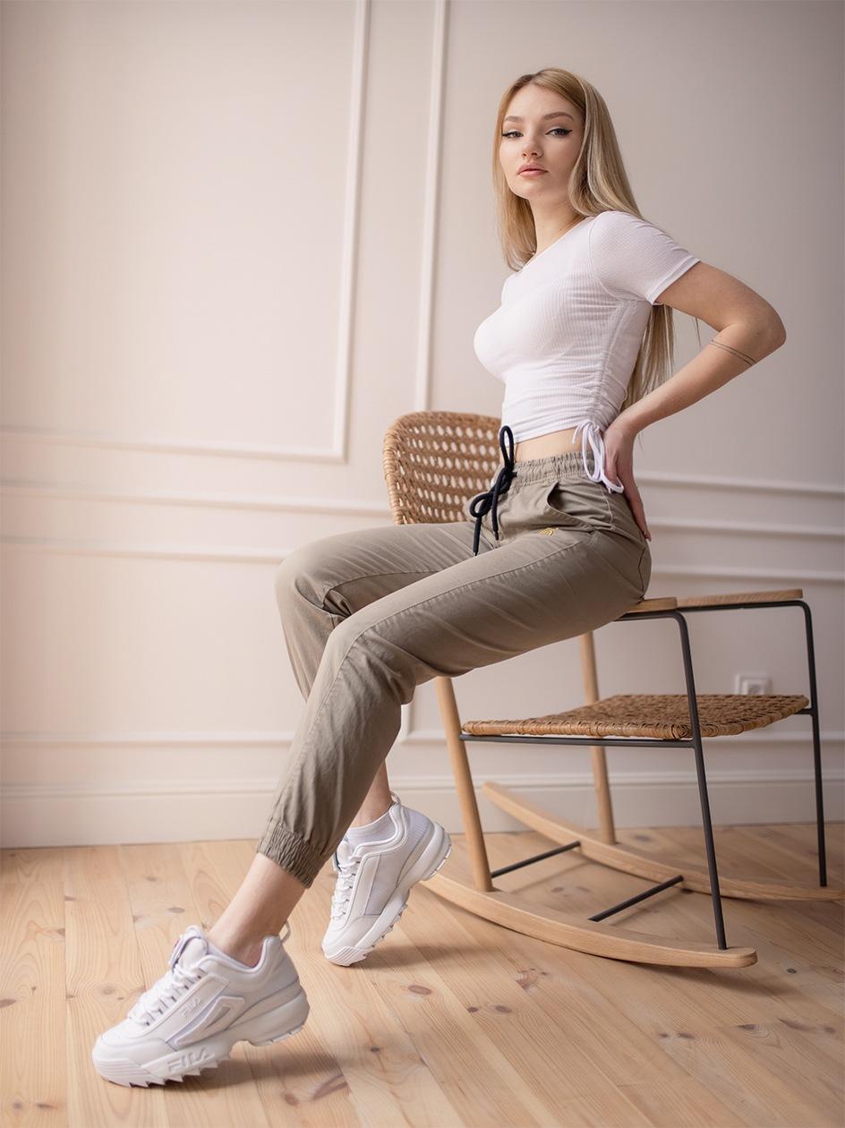 Damskie Spodnie Materiałowe Jogger Grube Lolo Oblique Pocket Beżowe