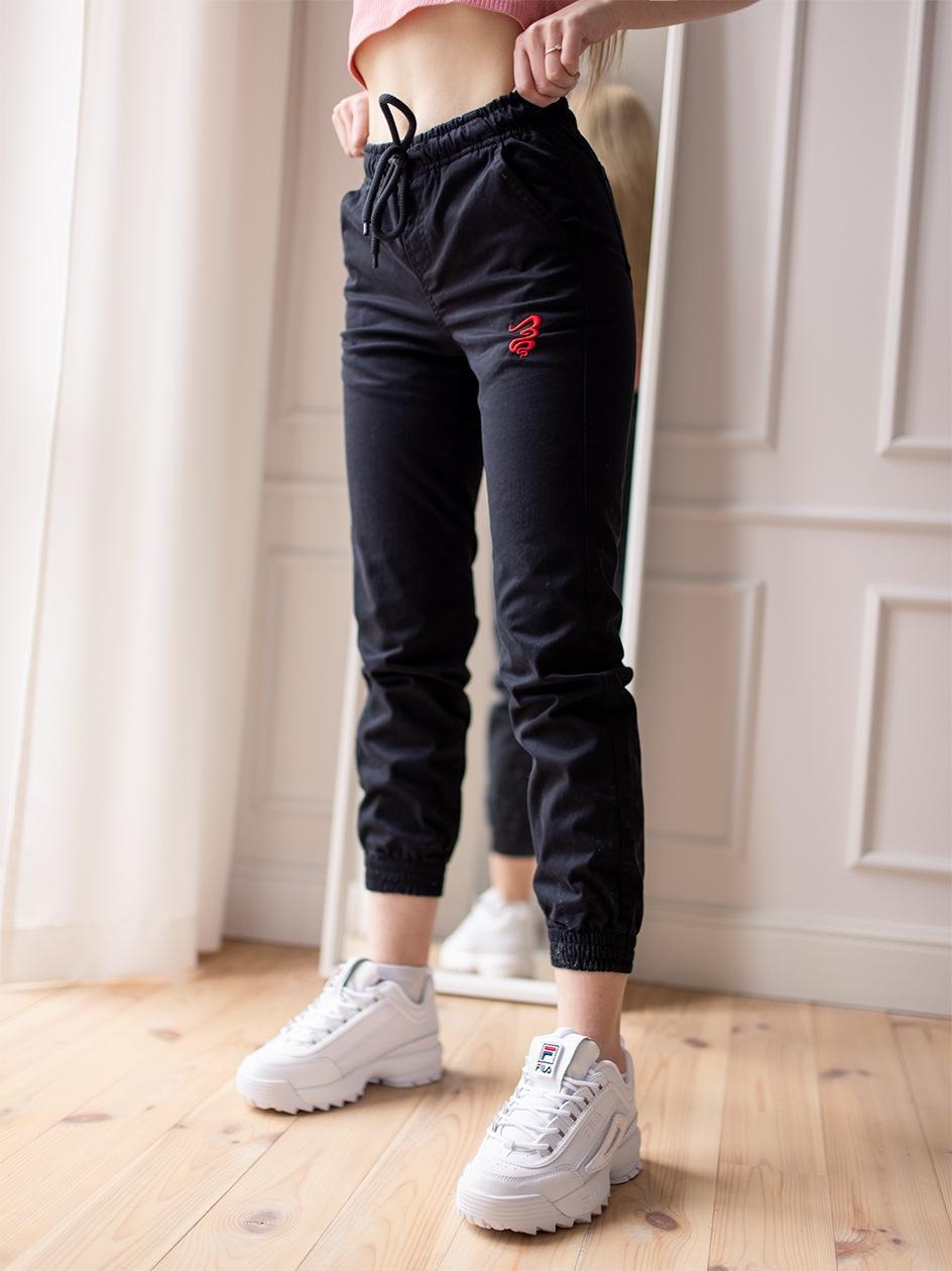 Damskie Spodnie Materiałowe Jogger Grube Lolo Oblique Pocket Czarne