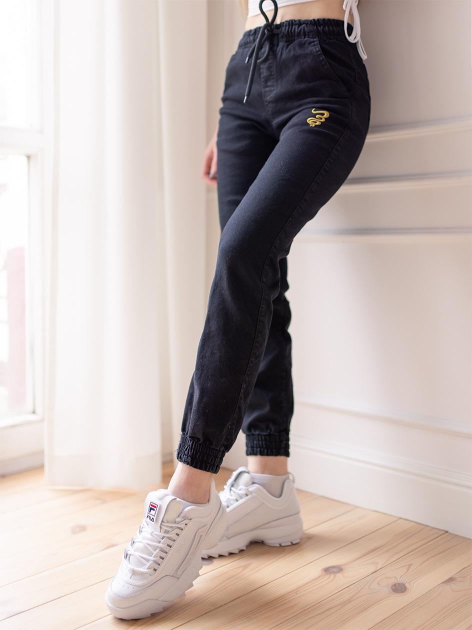 Damskie Spodnie Jeansowe Jogger Grube Lolo Oblique Pocket Czarne