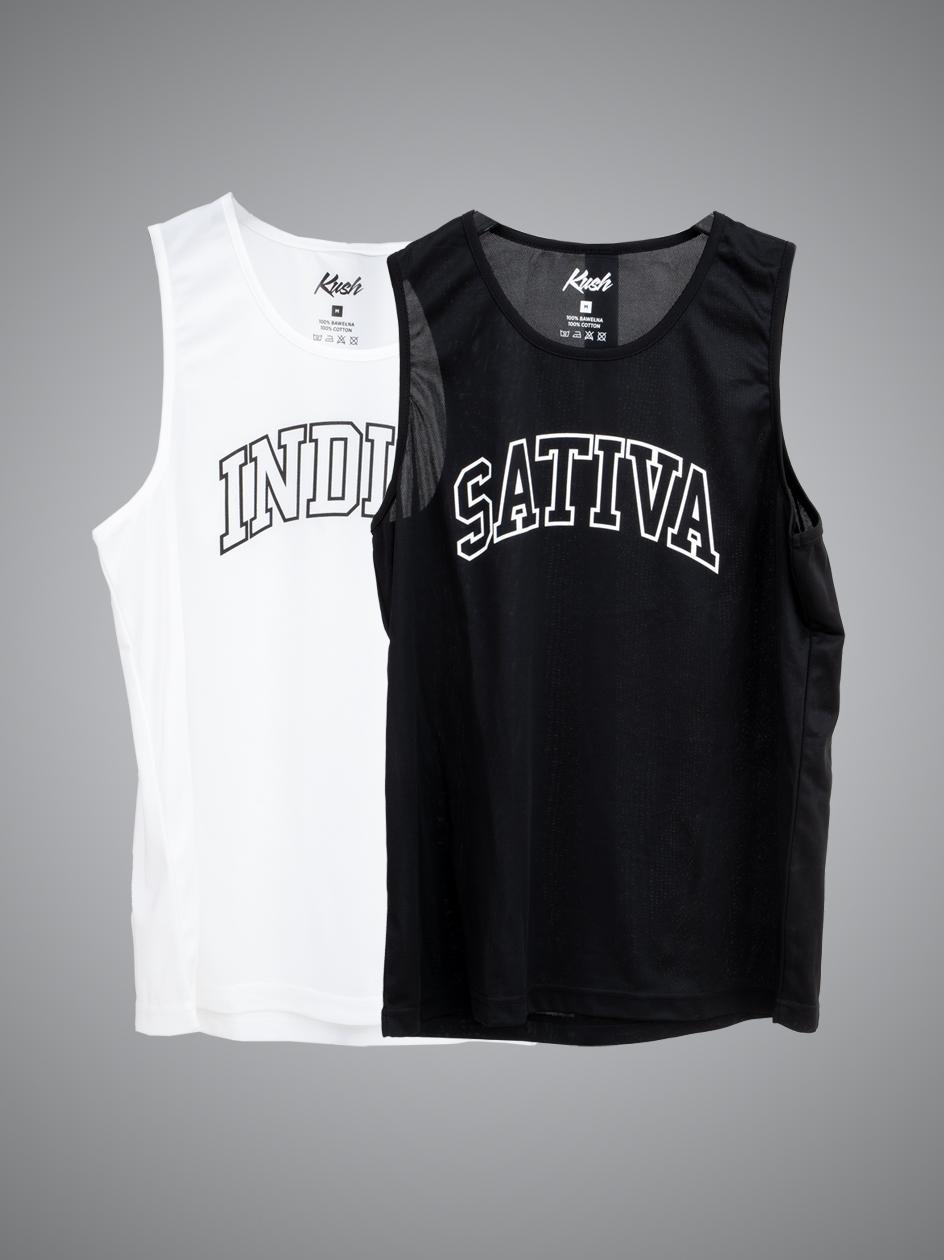 Zestaw 2 Tank Topów Kush Sativa Indica Czarny / Biały