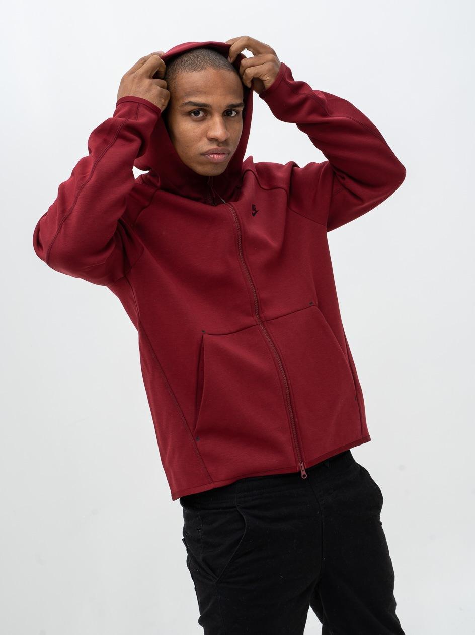Bluza Z Kapturem Rozpinana Nike NSW Tch Flc Ciemna Czerwona