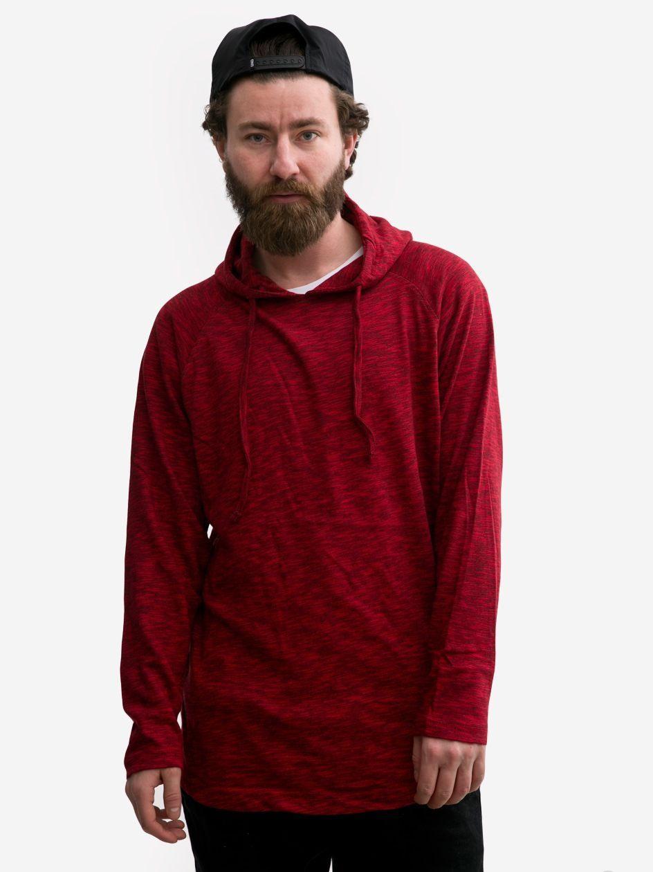 Melanżowa Bluza Z Kapturem Urban Classics TB1578 Czerwona / Czarna