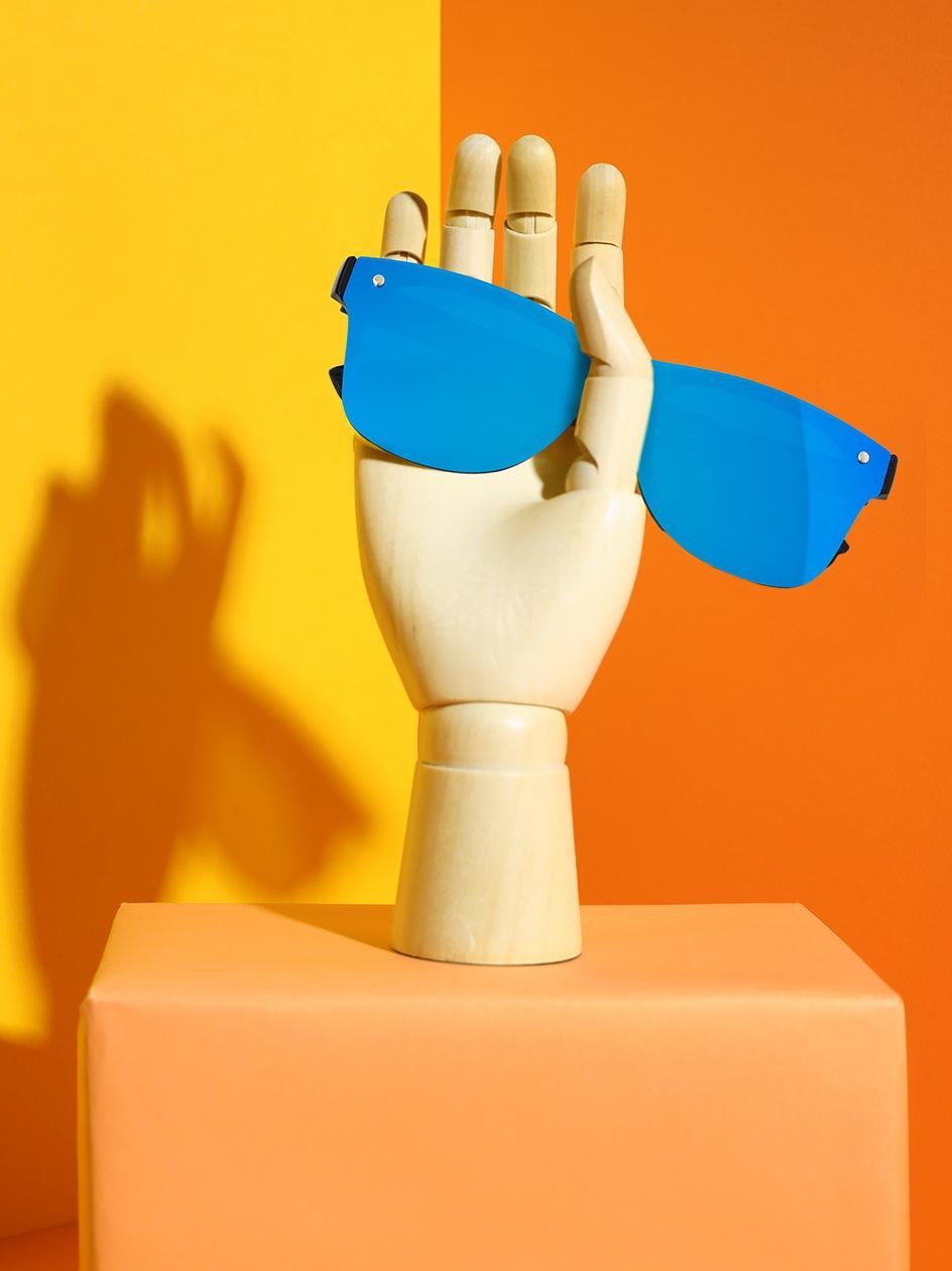 Okulary Przeciwsłoneczne Jigga Wear Glass Wayfarer Czarne / Niebieskie