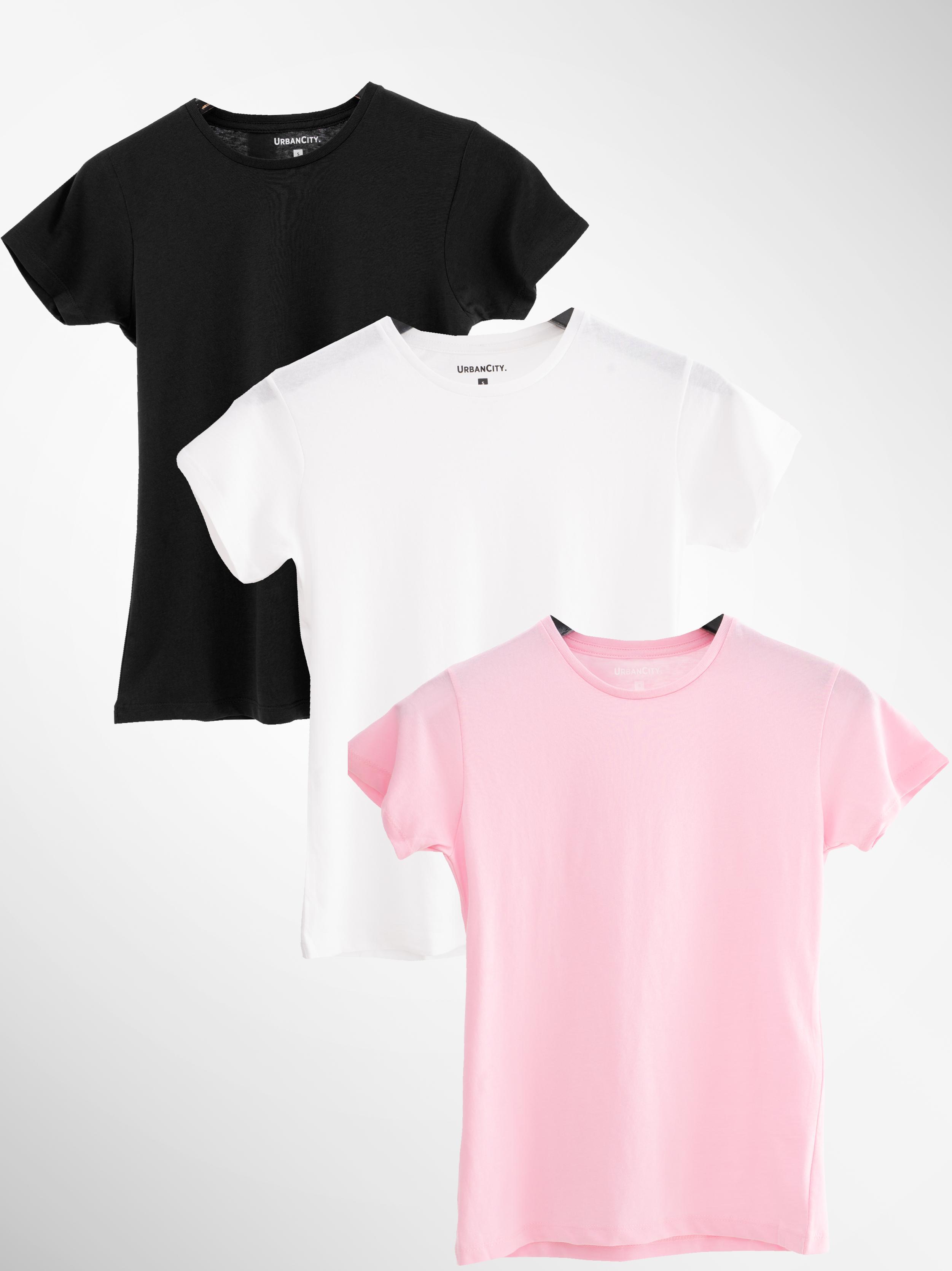 Zestaw 3 Damskich T-Shirtów Urban City No Logo Basic Czarny / Biały / Różowy