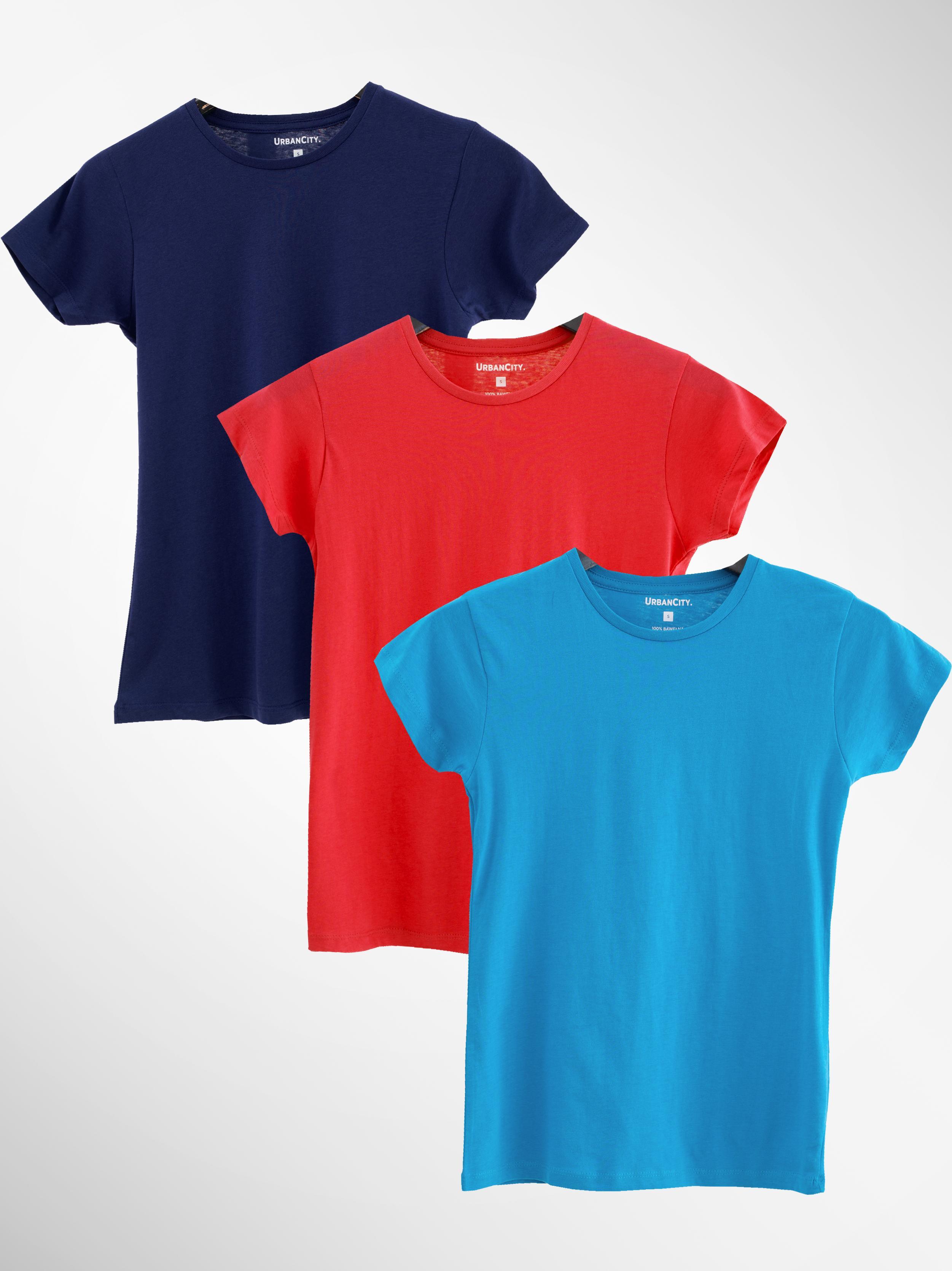 Zestaw 3 Damskich T-Shirtów Urban City No Logo Basic Czerwony / Granatowy / Turkusowy