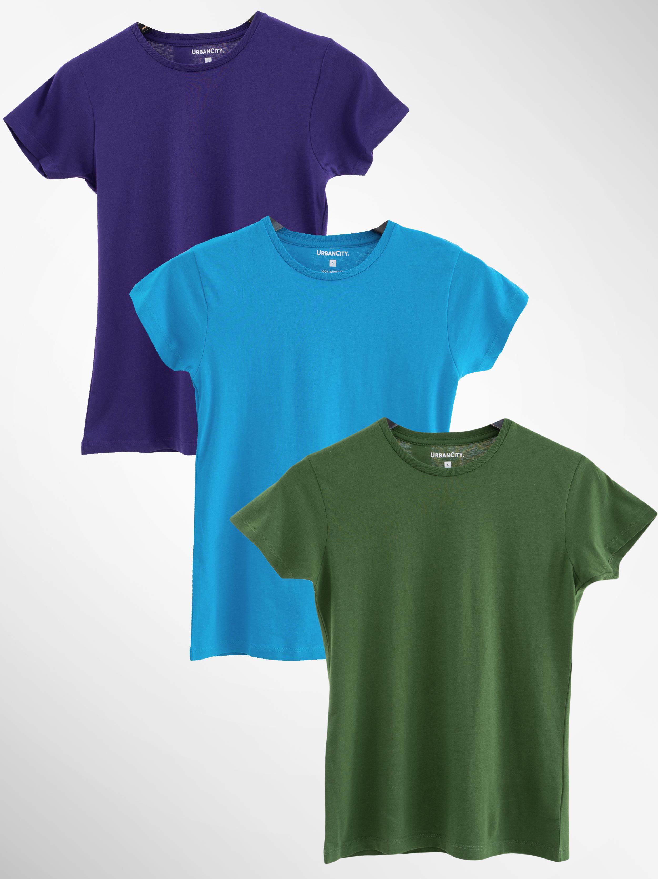 Zestaw 3 Damskich T-Shirtów Urban City No Logo Basic Niebieski / Fioletowy / Zielony