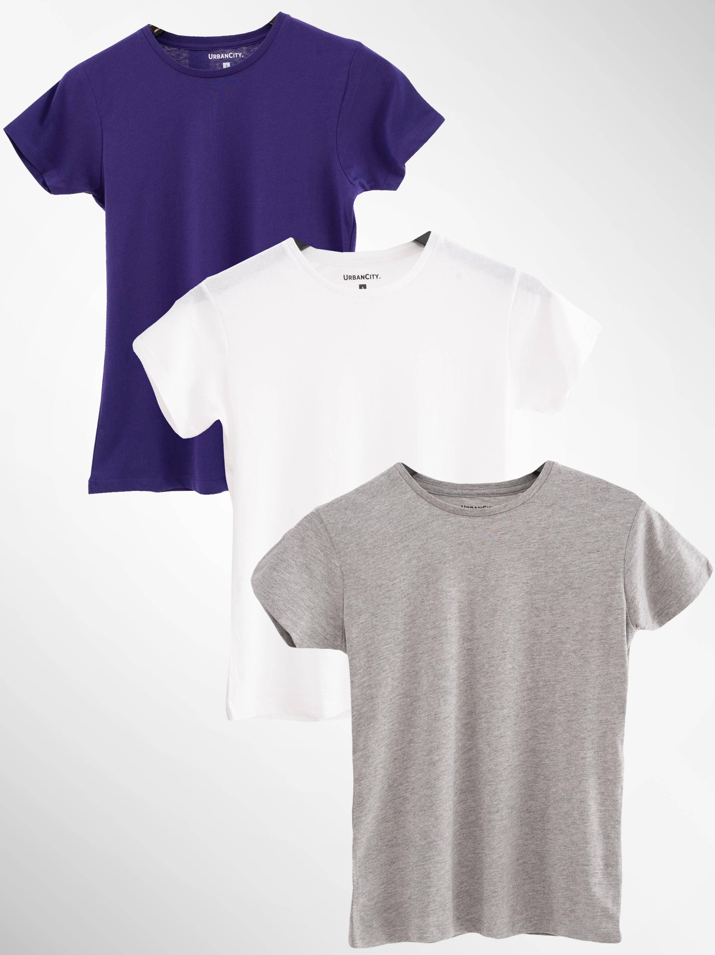 Zestaw 3 Damskich T-Shirtów Urban City No Logo Basic Fioletowy / Szary / Biały