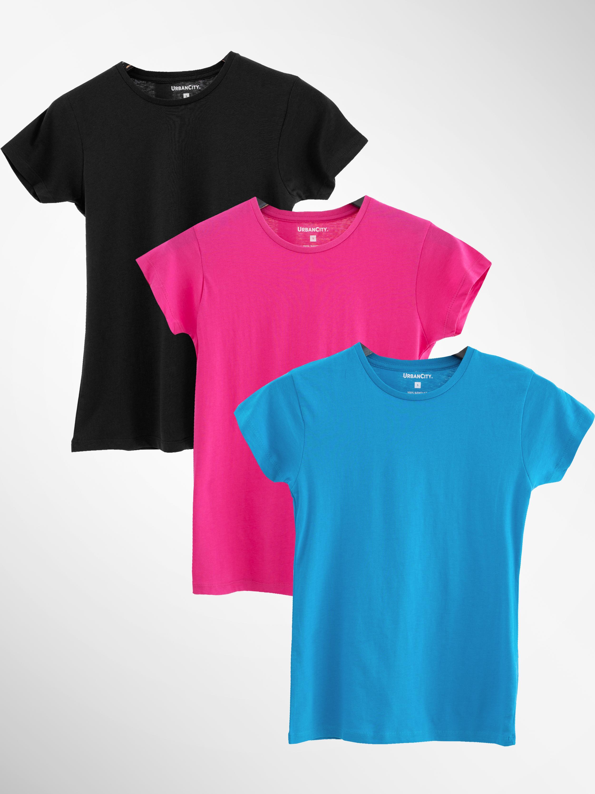 Zestaw 3 Damskich T-Shirtów Urban City No Logo Basic Ciemny Różowy / Turkusowy / Czarny