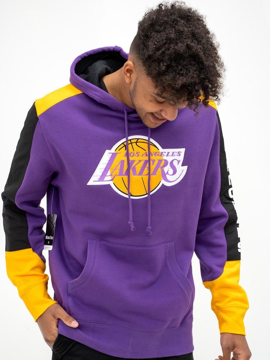Bluza Z Kapturem Mitchell & Ness Los Angeles Lakers NBA Fusion Fleece Fioletowa