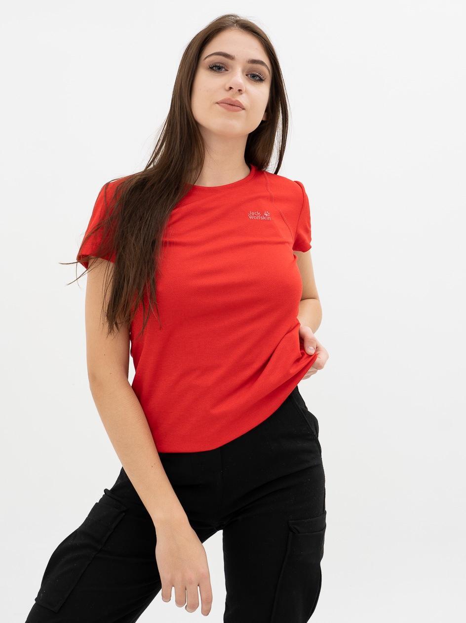 Damska Koszulka Z Krótkim Rękawem Jack Wolfskin Sky Range Czerwona