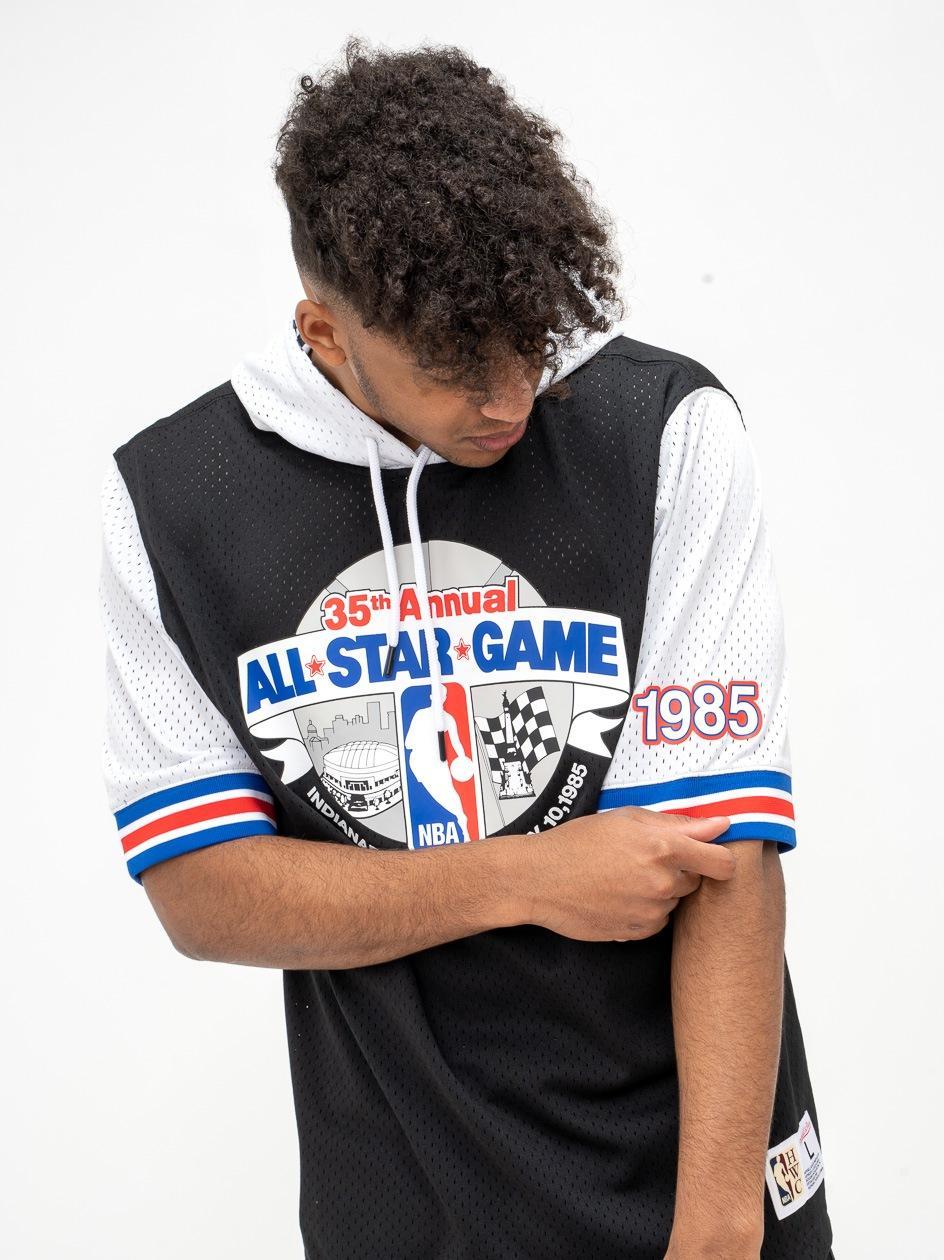 Bluza Z Kapturem Z Krótkim Rękawem Mitchell & Ness All Star NBA Fashion Mesh Czarna