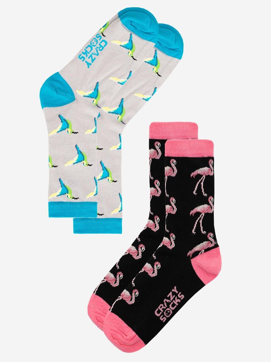 Zestaw 2 Par Długich Skarpet Damskich Crazy Socks Hummingbird & Flamingo Czarne / Szare