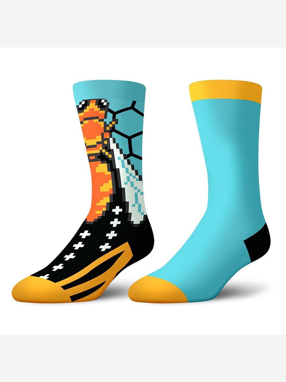 Zestaw 2 Par Długich Skarpet Crazy Socks Bees Turkusowe