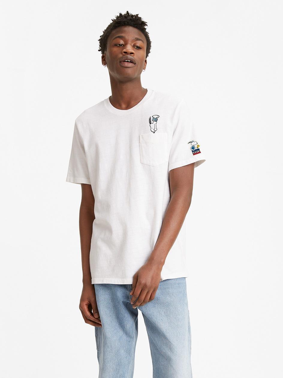 Koszulka Z Krótkim Rękawem Levis Back Flip Snoopy Biała