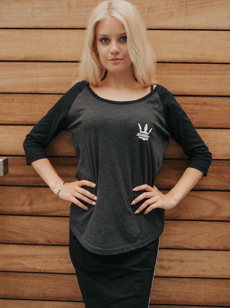 Damska Koszulka 3/4 Jigga Wear Classic Logo Raglan Grafitowa / Czarna