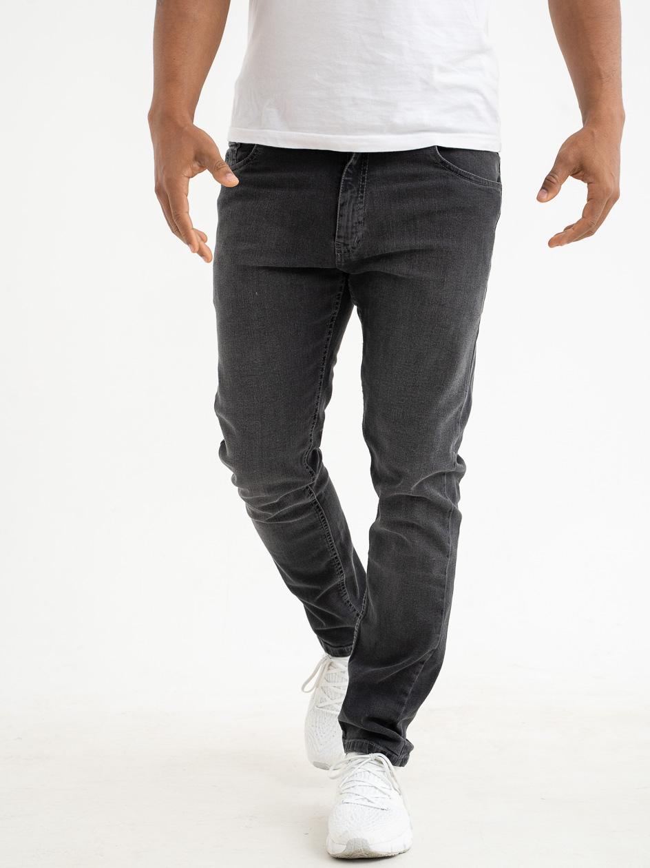 Spodnie Jeansowe Slim Prosto Zappe Sprane Czarne