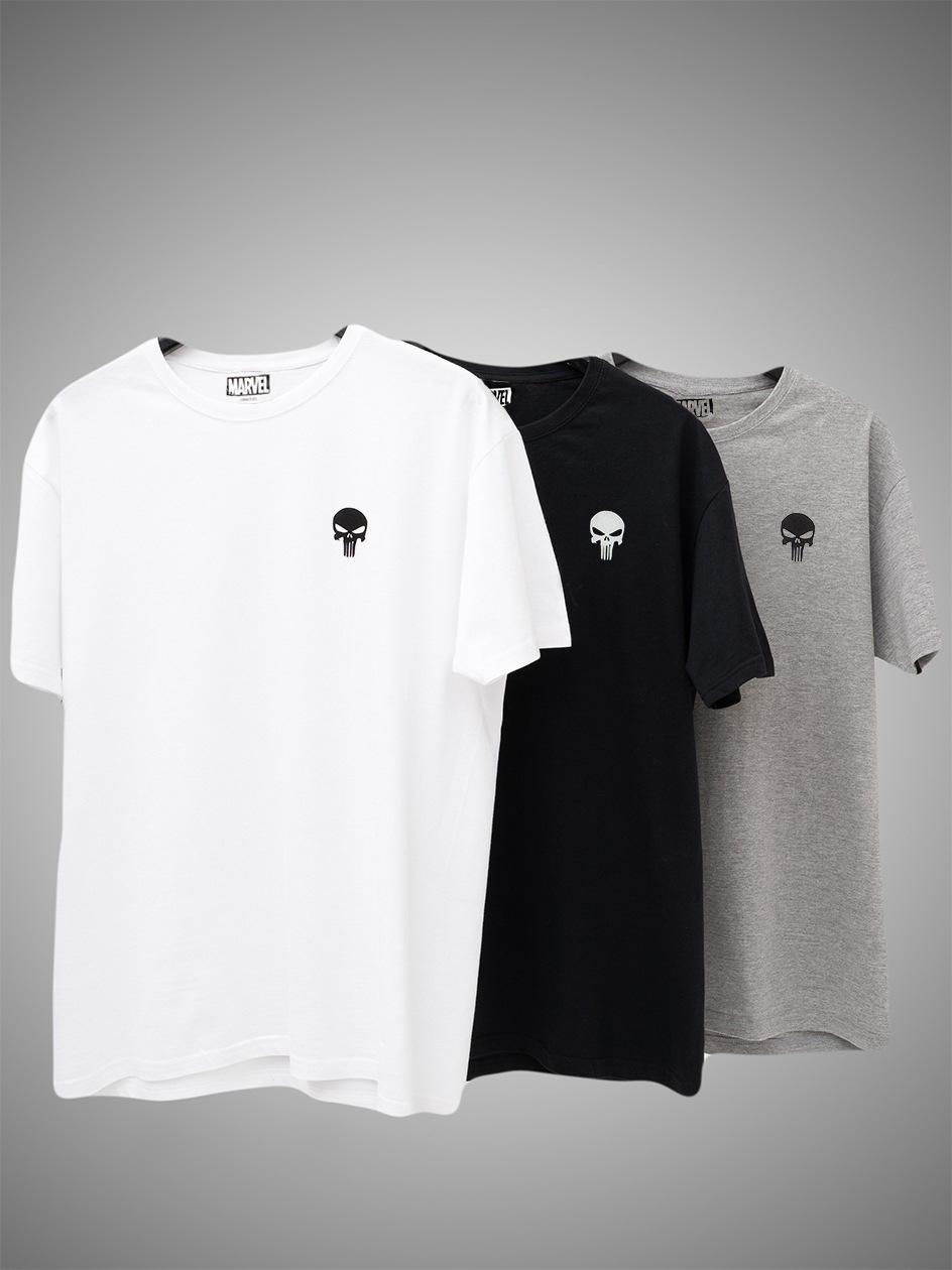 Zestaw 3 Koszulek Marvel Comics Punisher Mini Logo Czarna / Biała / Szara