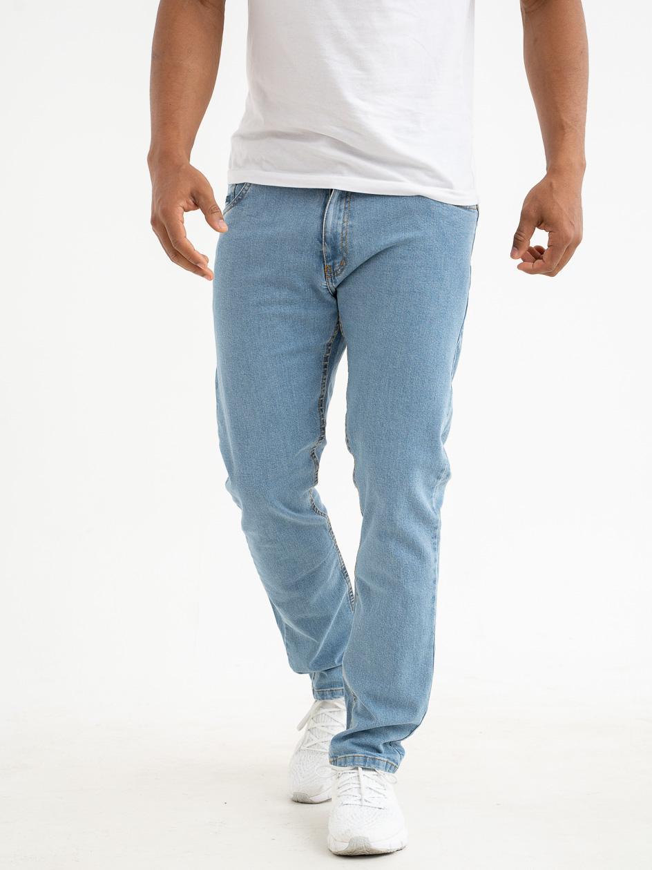 Spodnie Jeansowe Slim Prosto Zappe Jasne Niebieskie