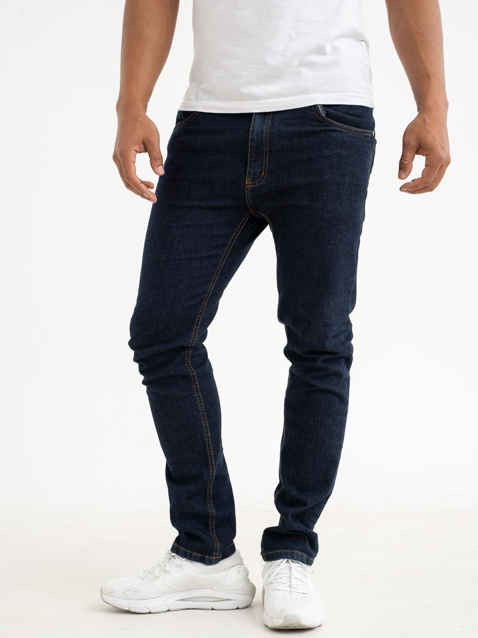 Spodnie Jeansowe Slim Prosto Zappe Ciemne Niebieskie