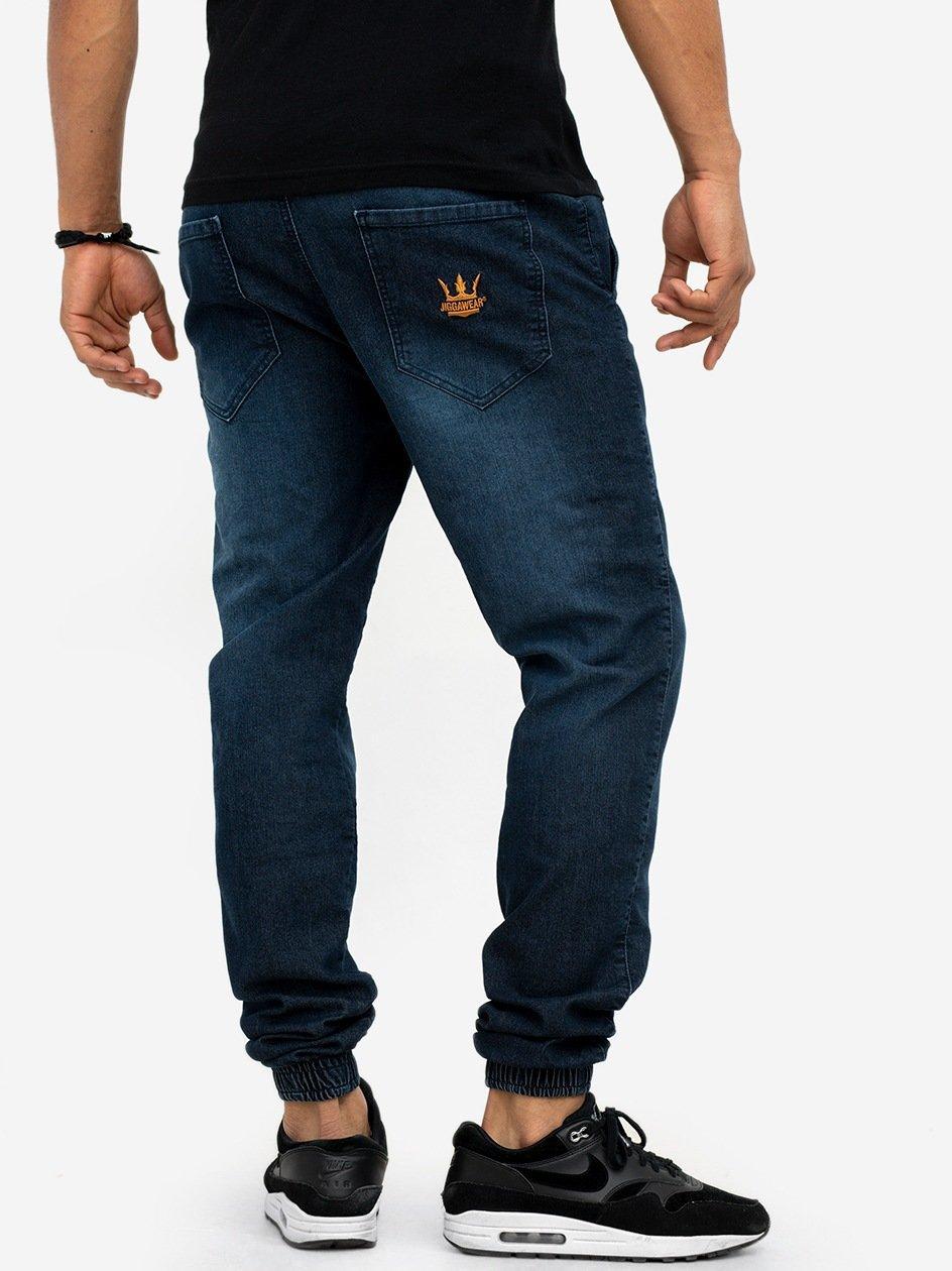 Spodnie Jeansowe Jogger Ze Ściągaczem Jigga Crown Premium Sprane Ciemne Niebieskie / Złote