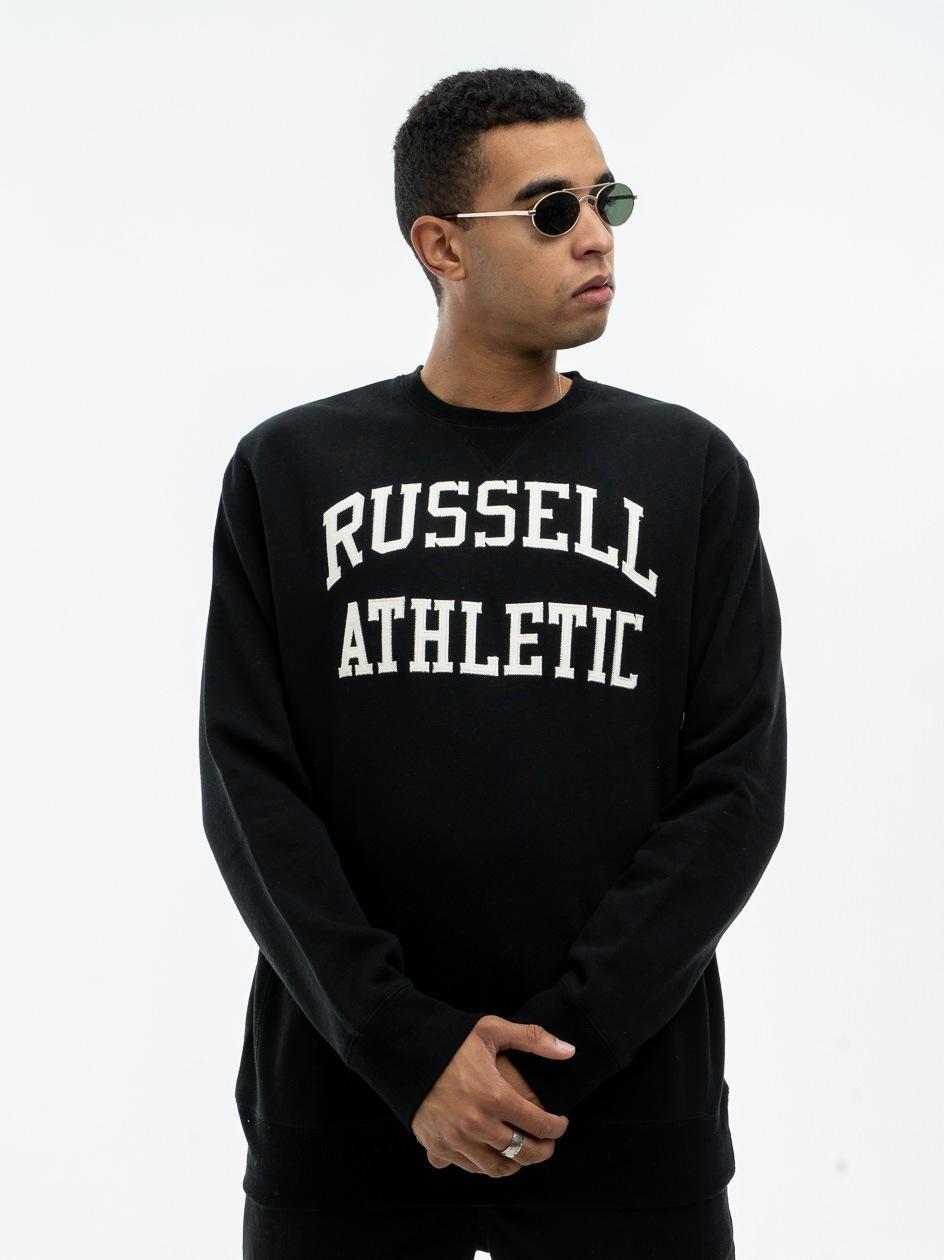 Bluza Bez Kaptura Russell Athletic Haft Logo Czarna