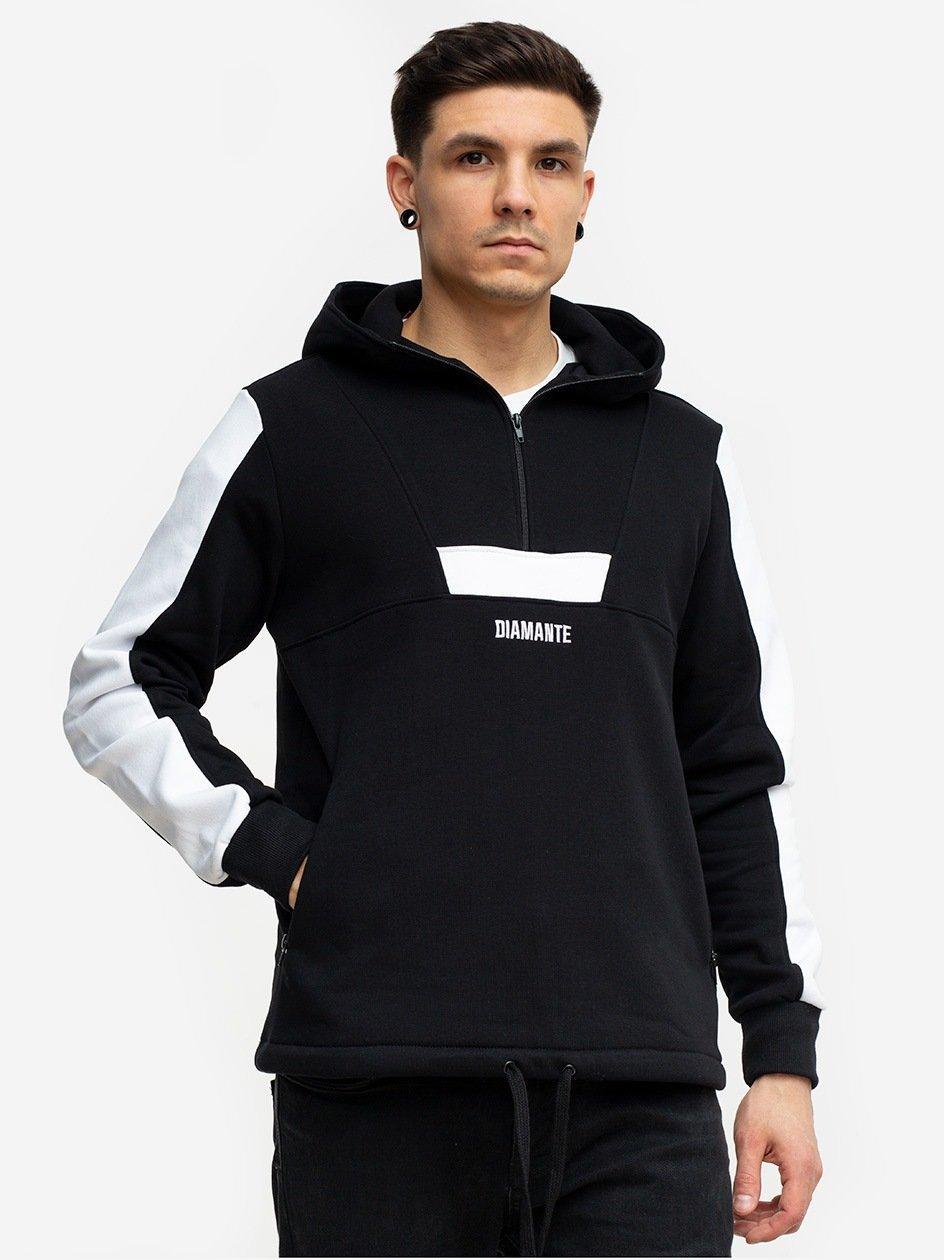 Basic Half Zip Hoody Black White